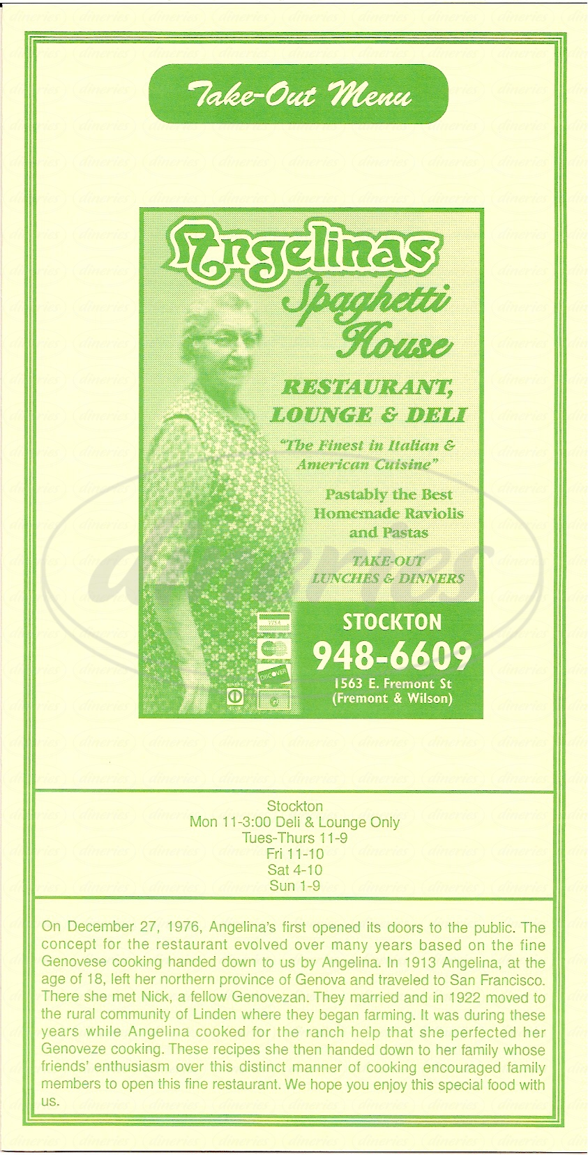 menu for Angelinas Spaghetti House
