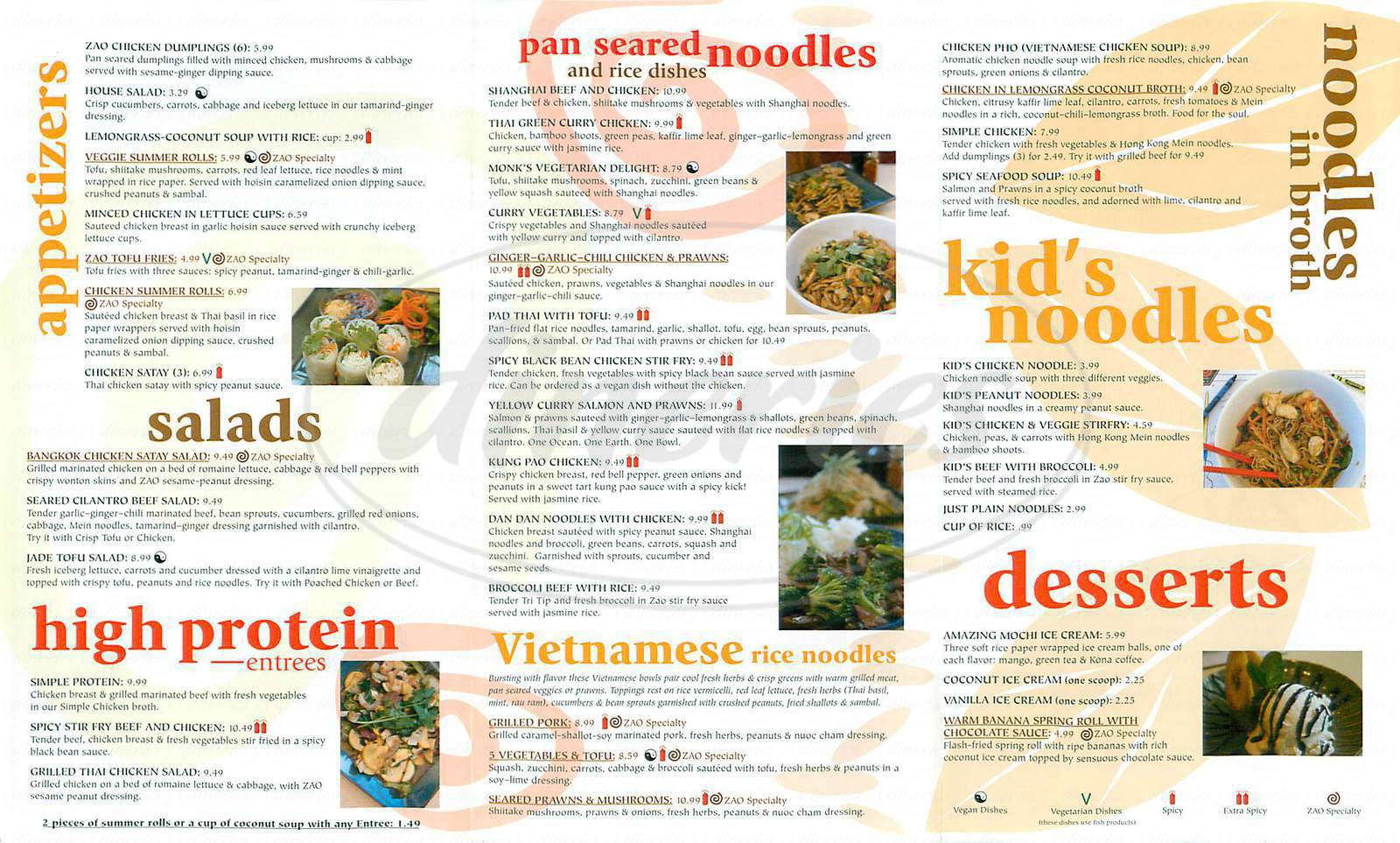 menu for Zao Noodle Bar