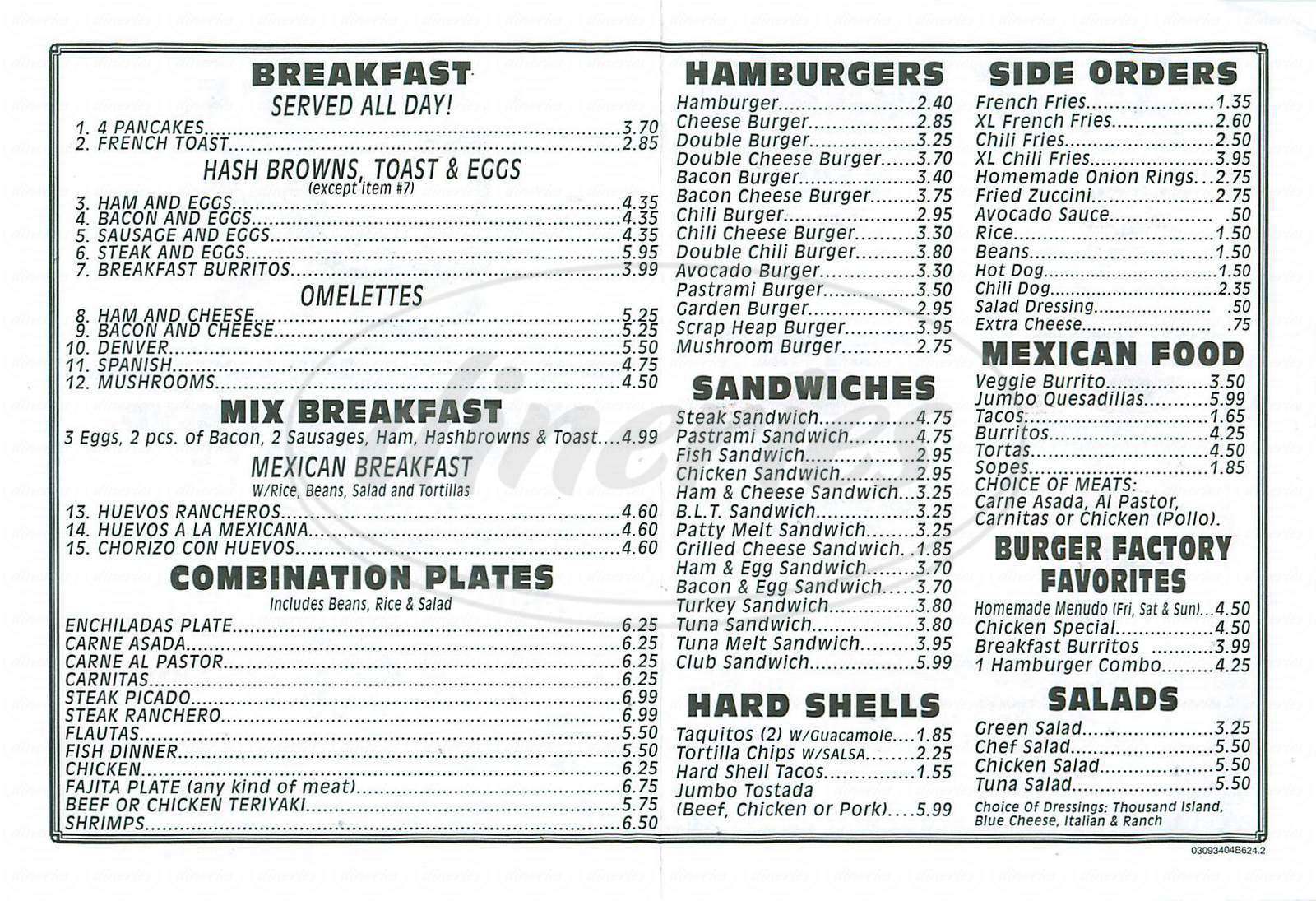 menu for Burger Factory