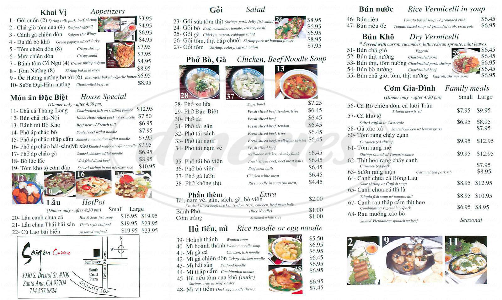 menu for Saigon Cuisine