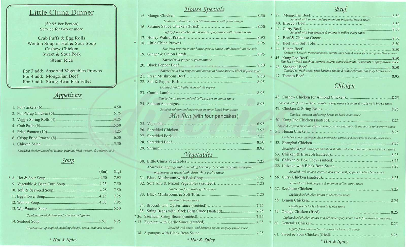 menu for Little China Restaurant