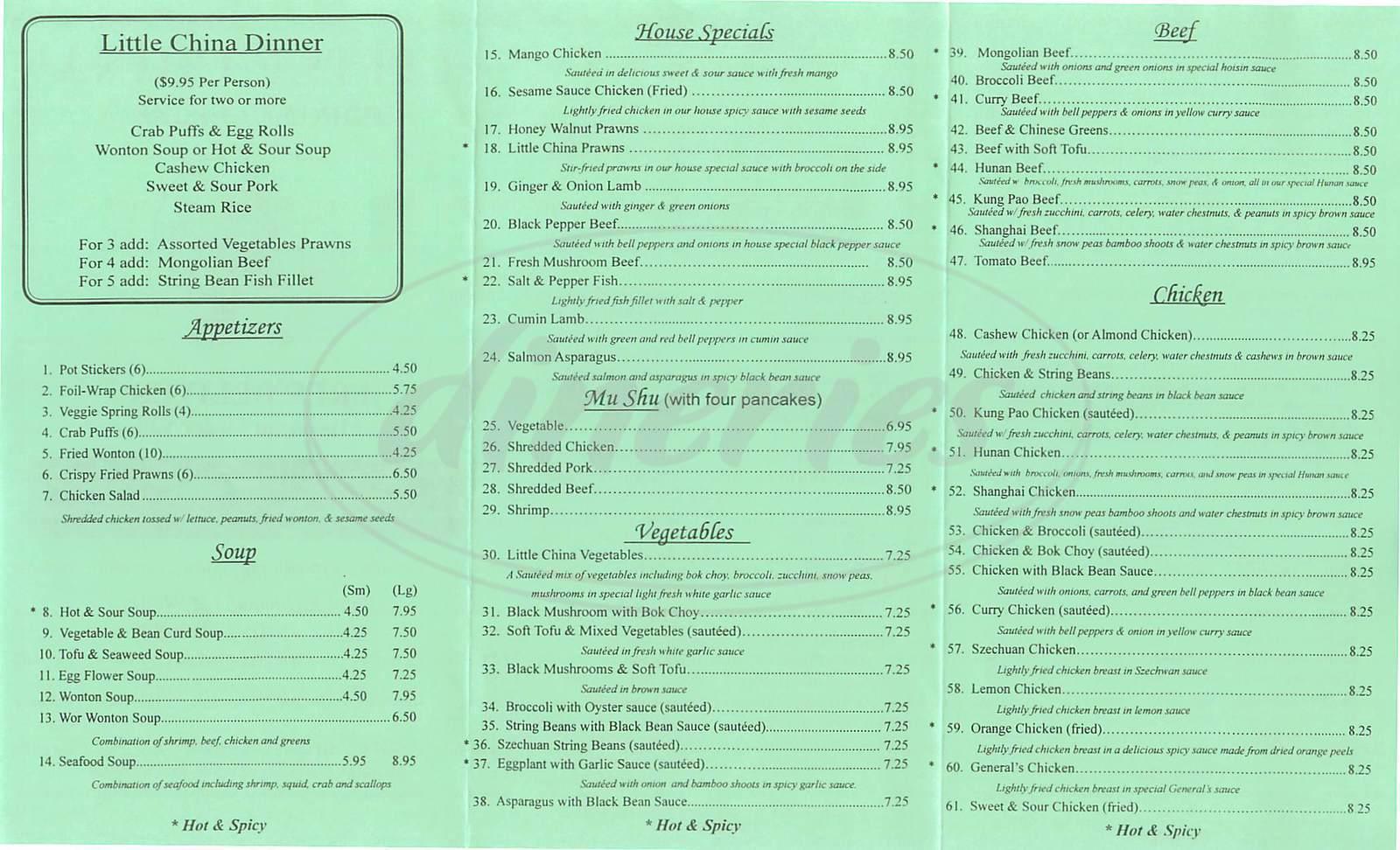 Little China Restaurant Menu - Richmond - Dineries