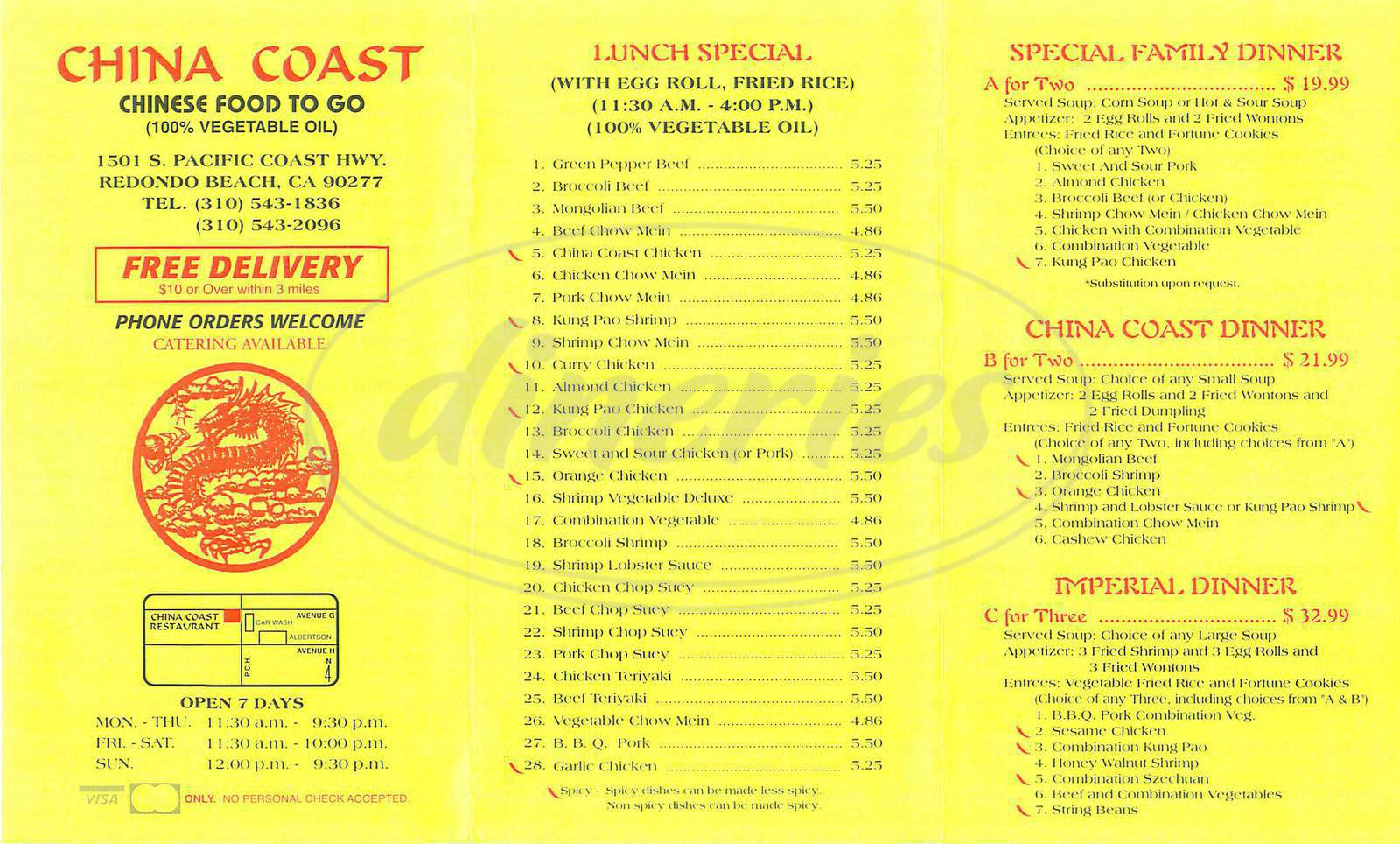 menu for China Coast