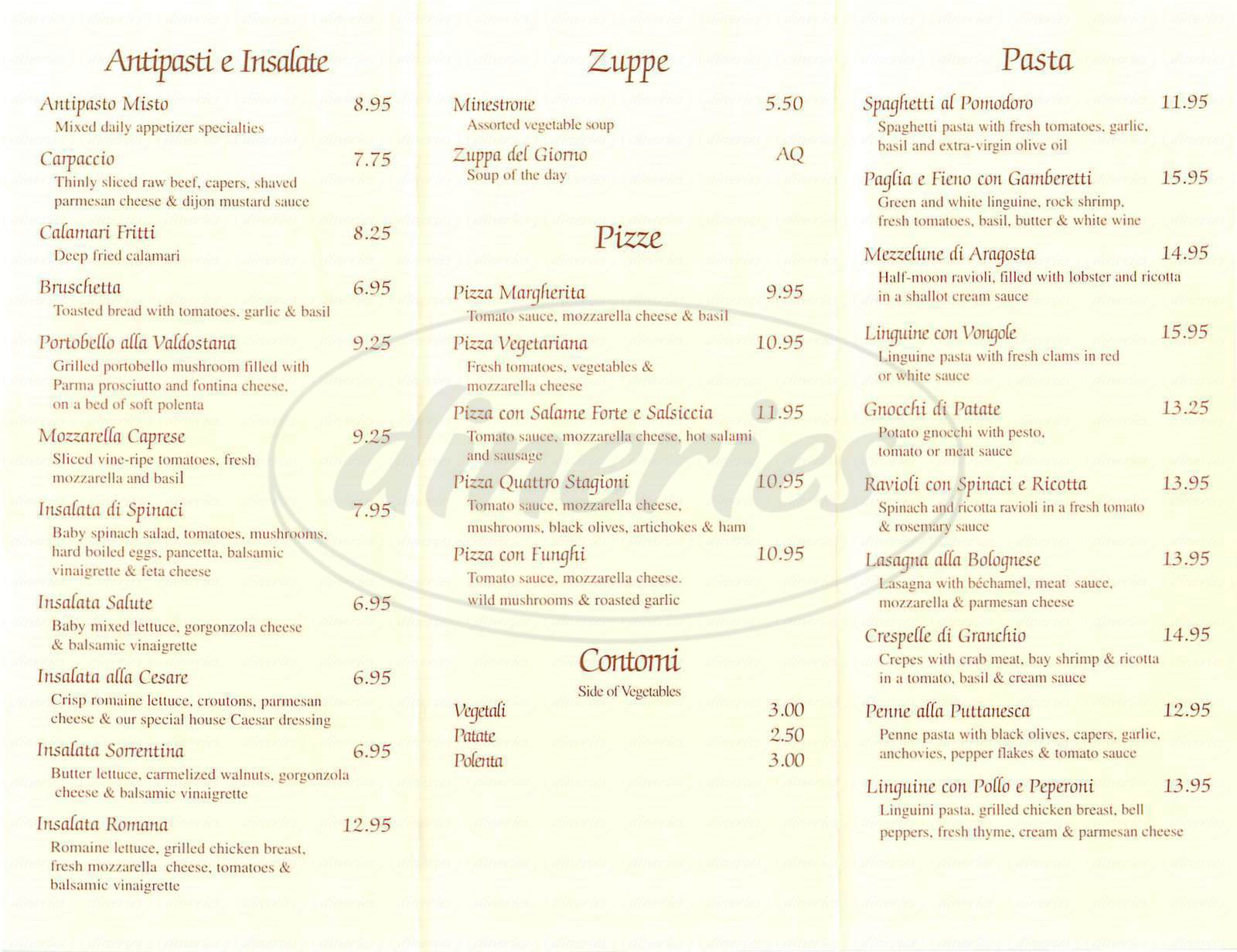 menu for Salute Ristorante At Marina Bay
