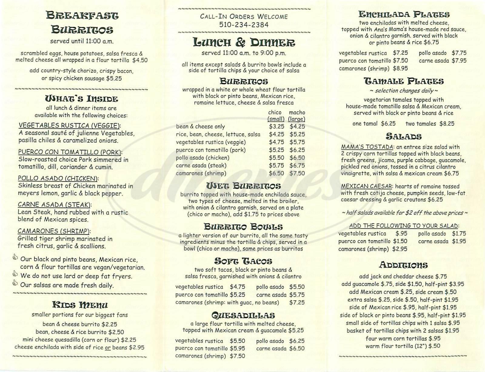 menu for Rosamarias Café