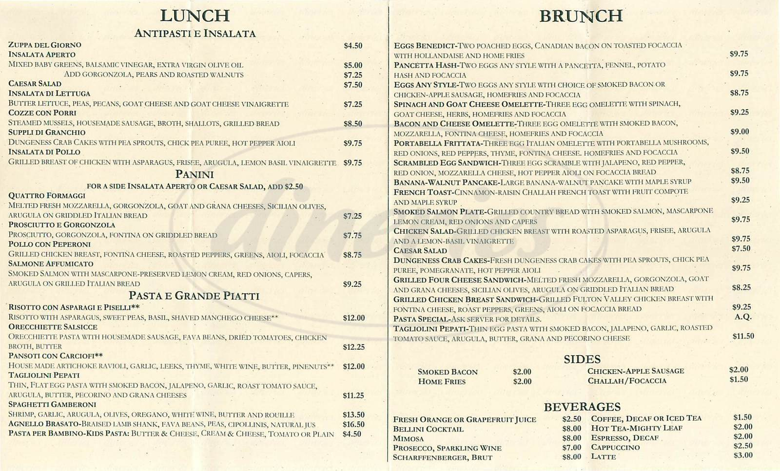 menu for Aperto