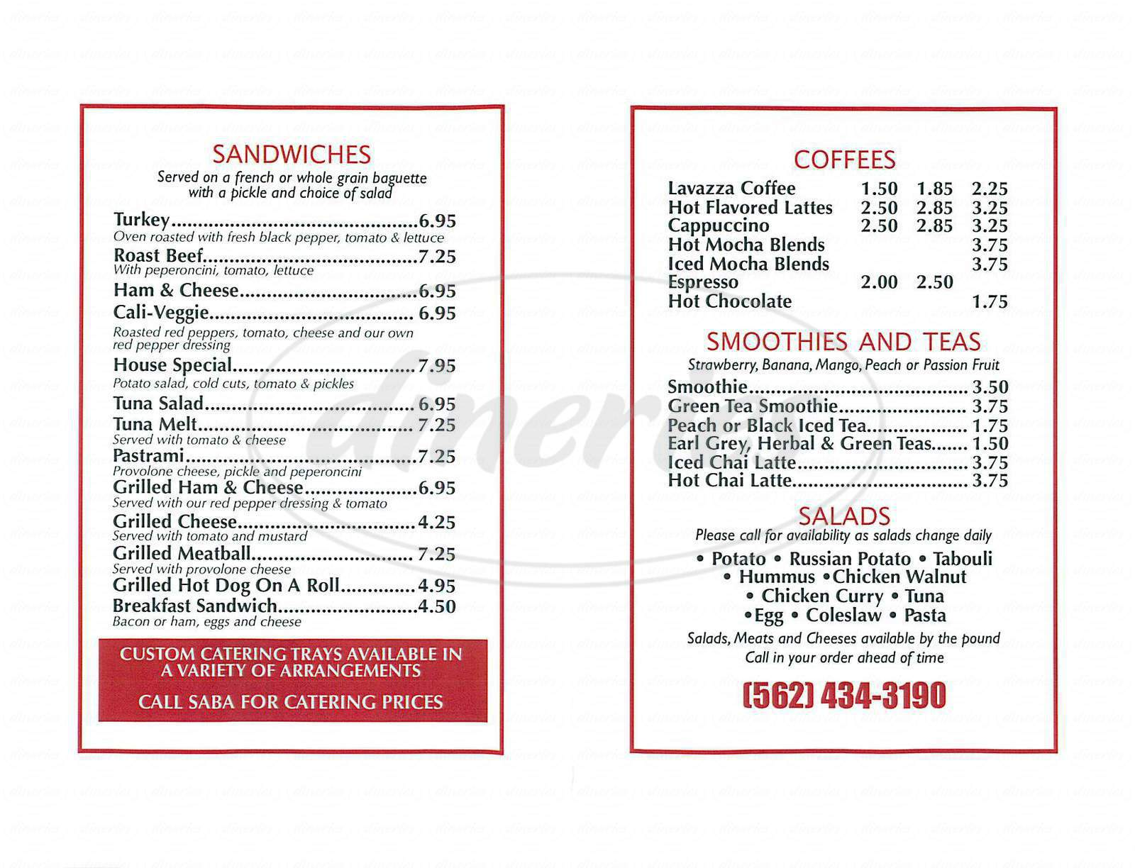 menu for Belmont Coffee & Deli