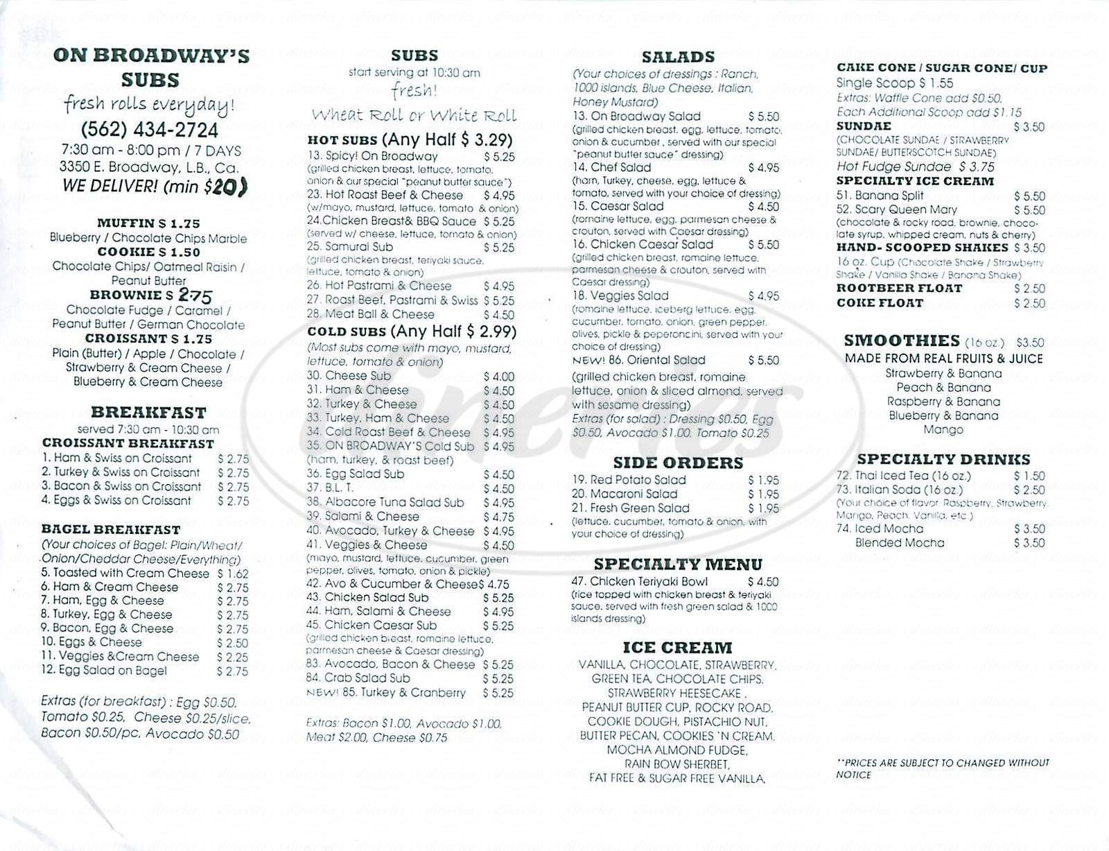 menu for On Broadway's Subs
