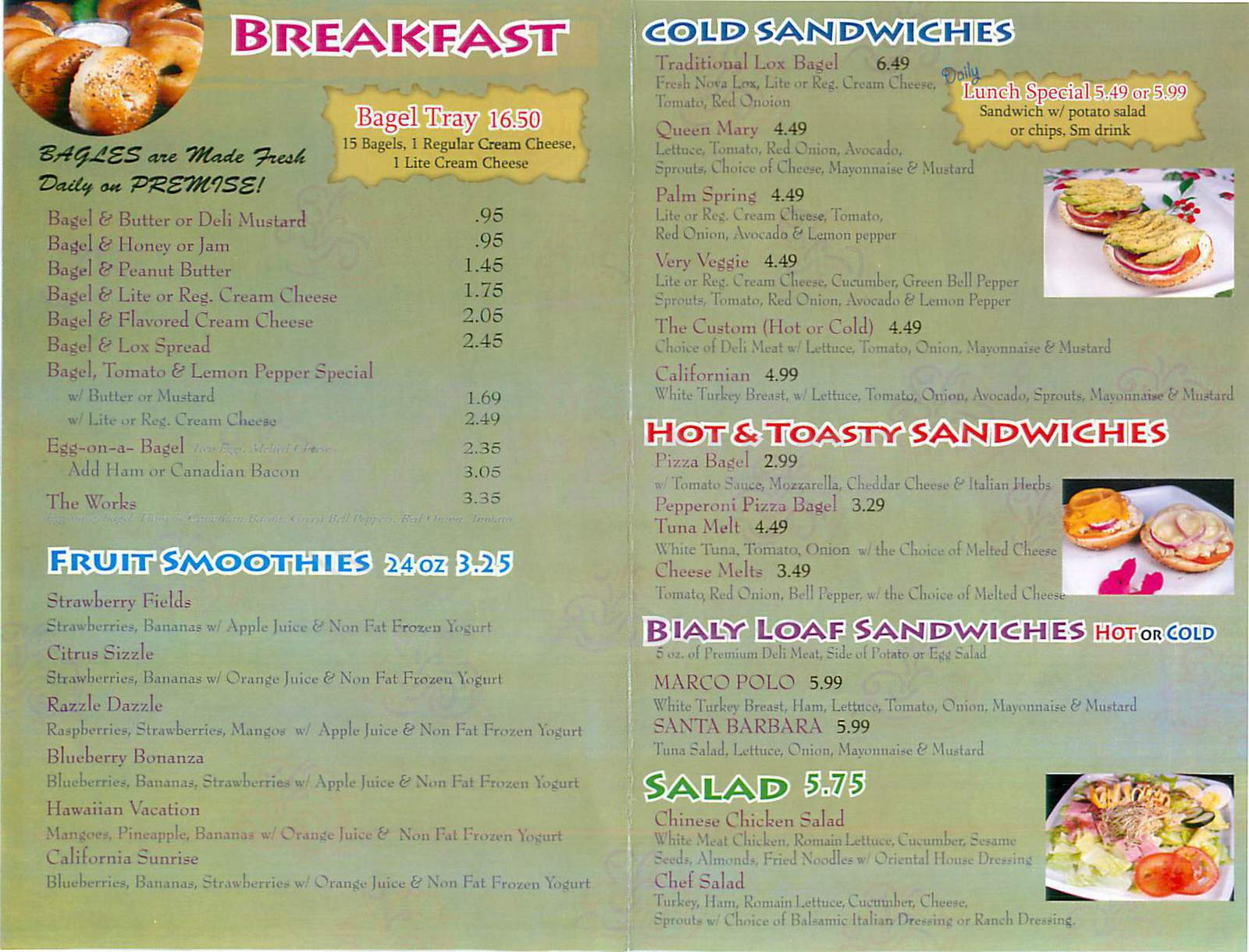 menu for Bagelry & Bistro