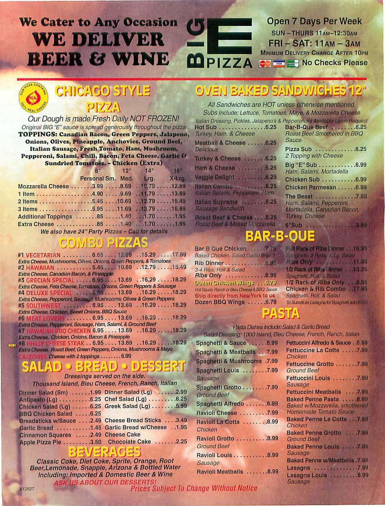 menu for Big E Pizza