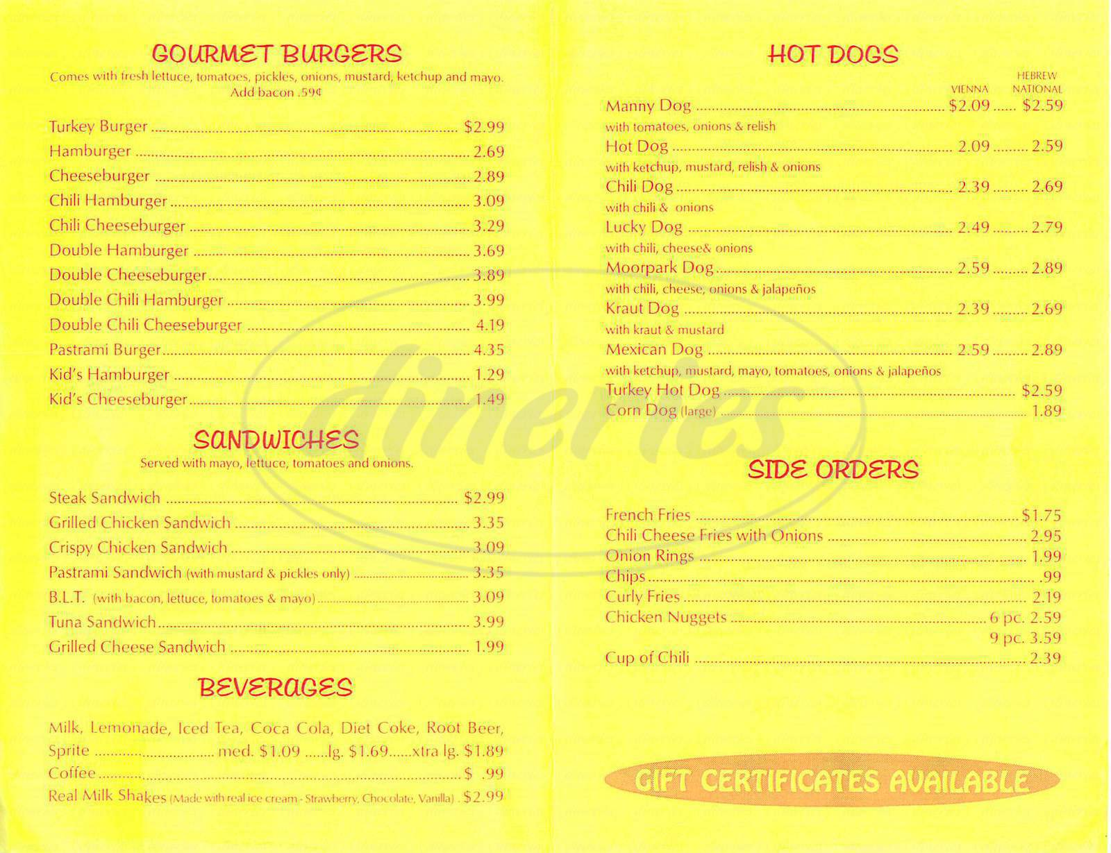 menu for Lucky's Dog House