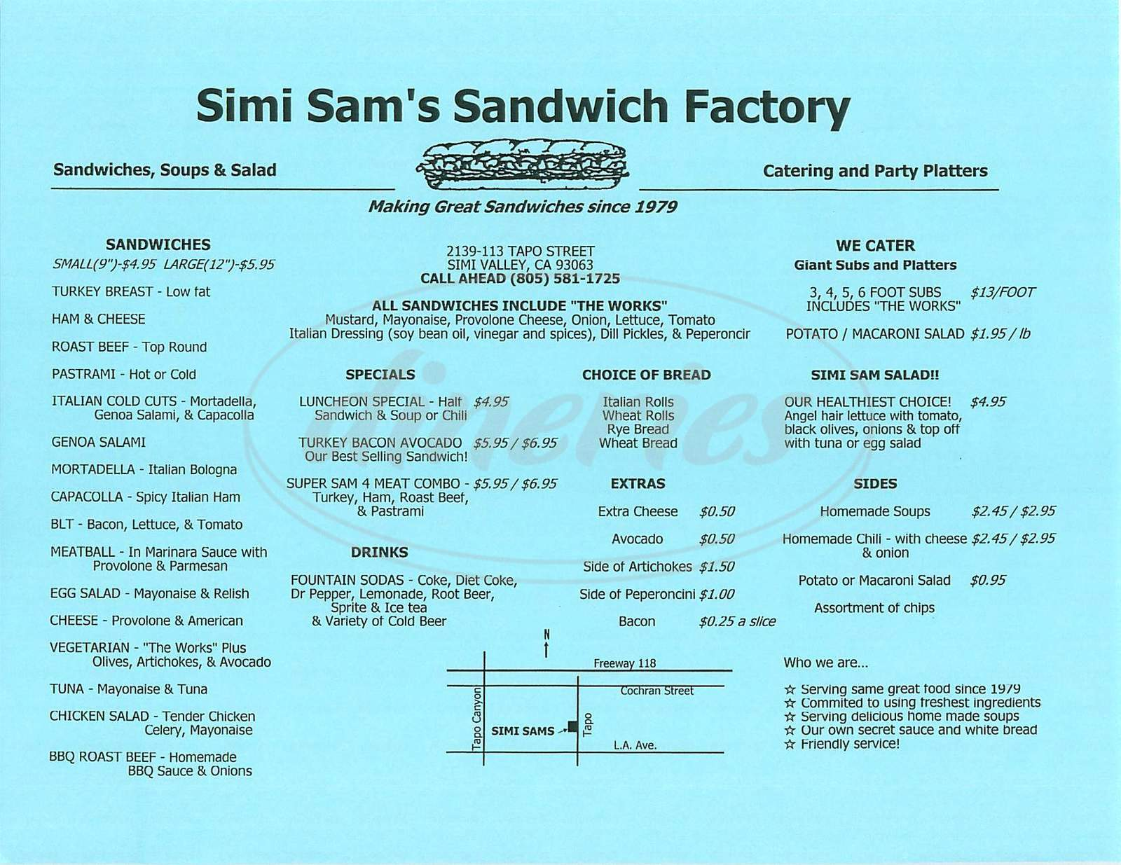 menu for Simi Sam's Sandwich Factory