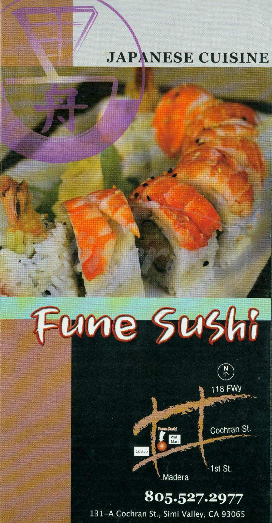 menu for Fune Sushi