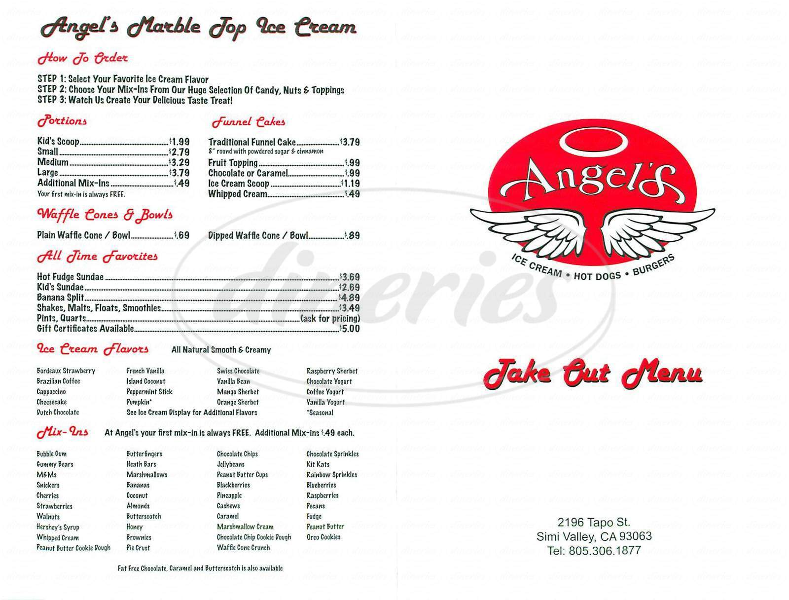 menu for Angel's
