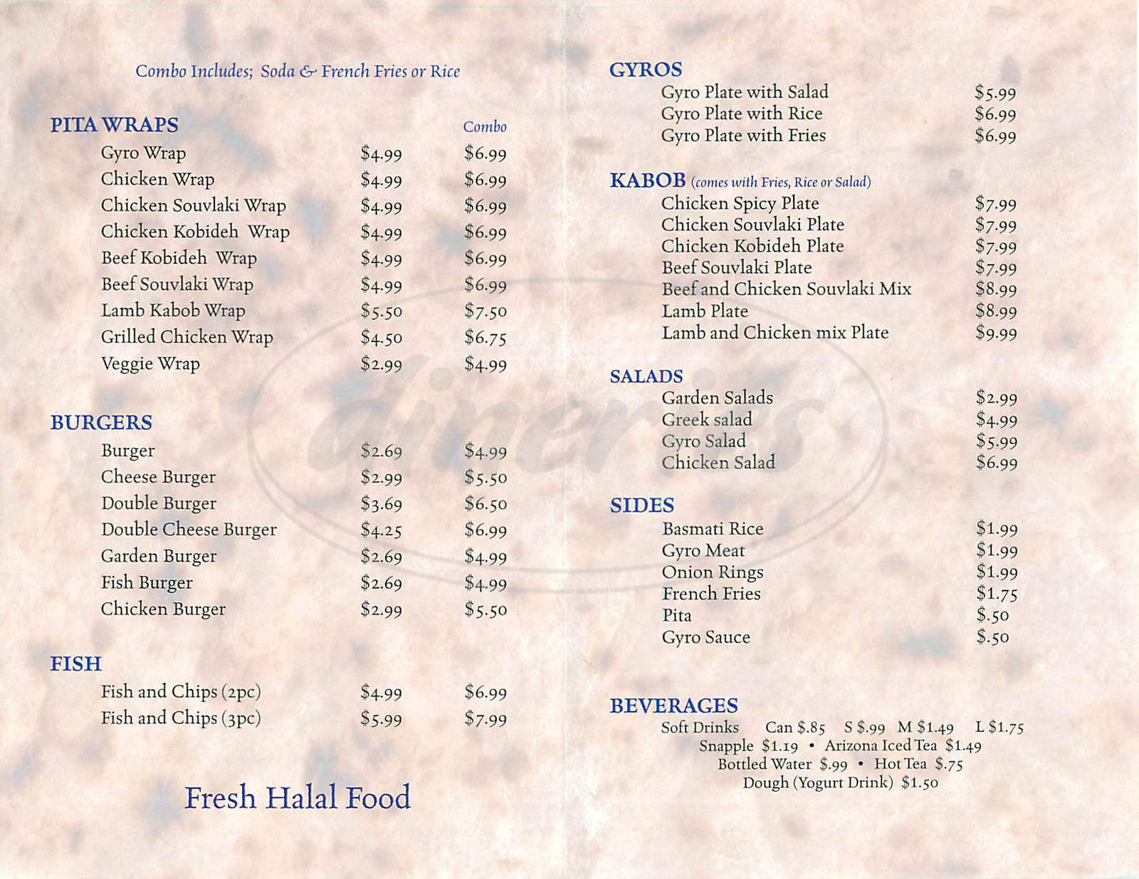 menu for Gyro Kabob Cafe
