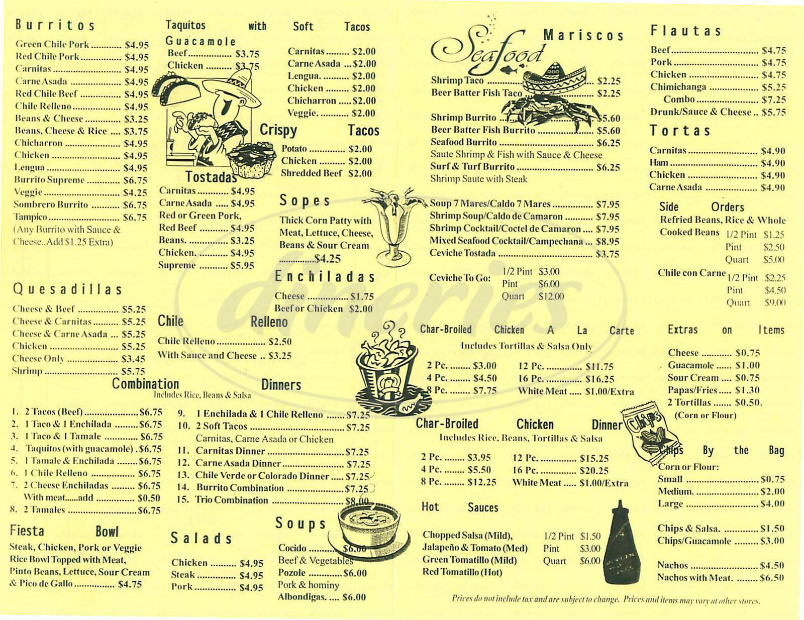 menu for Carrillo's