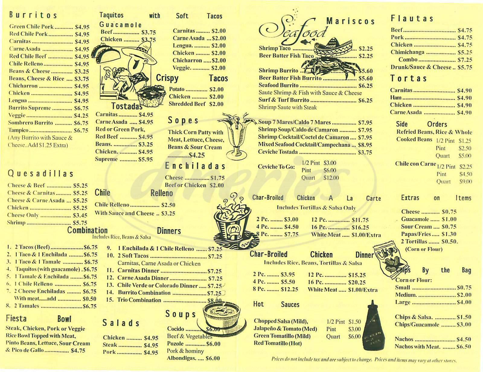 menu for Carrillo's