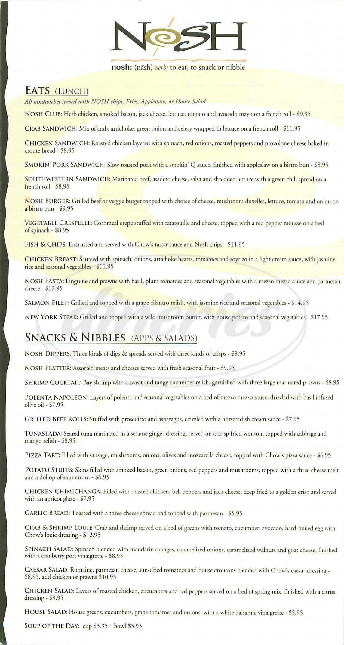 menu for Nosh