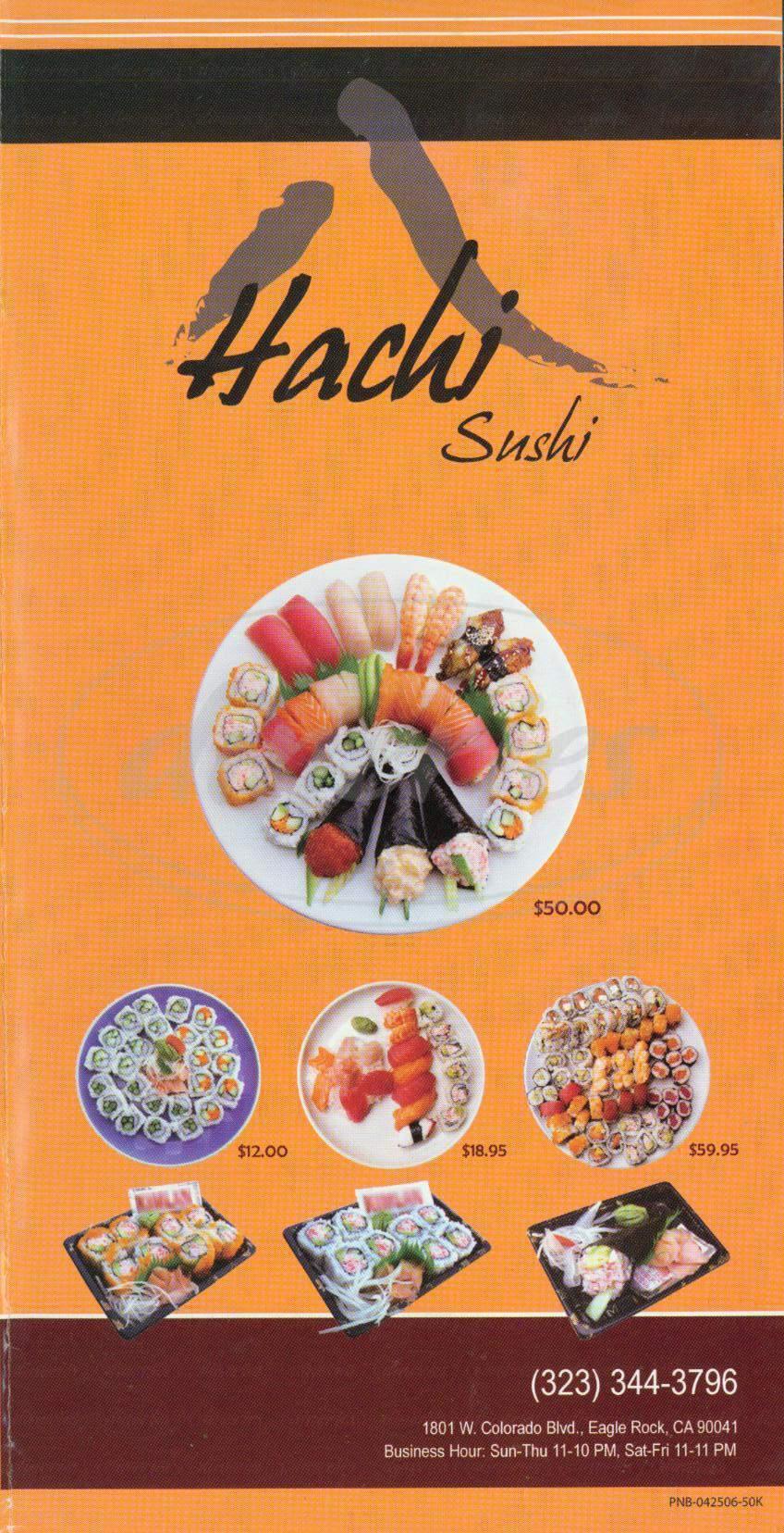 menu for Hachi Sushi