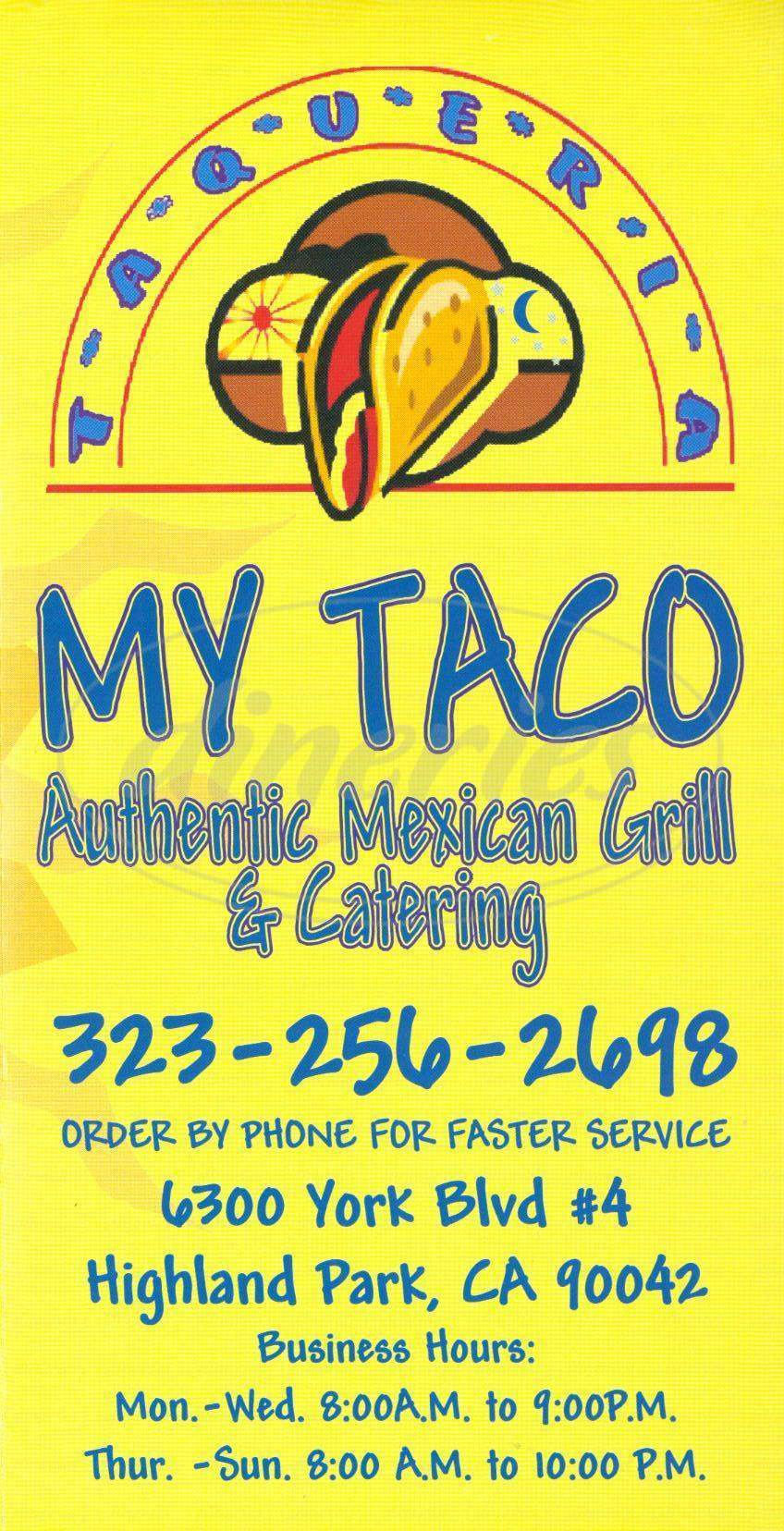 menu for My Taco Taqueria