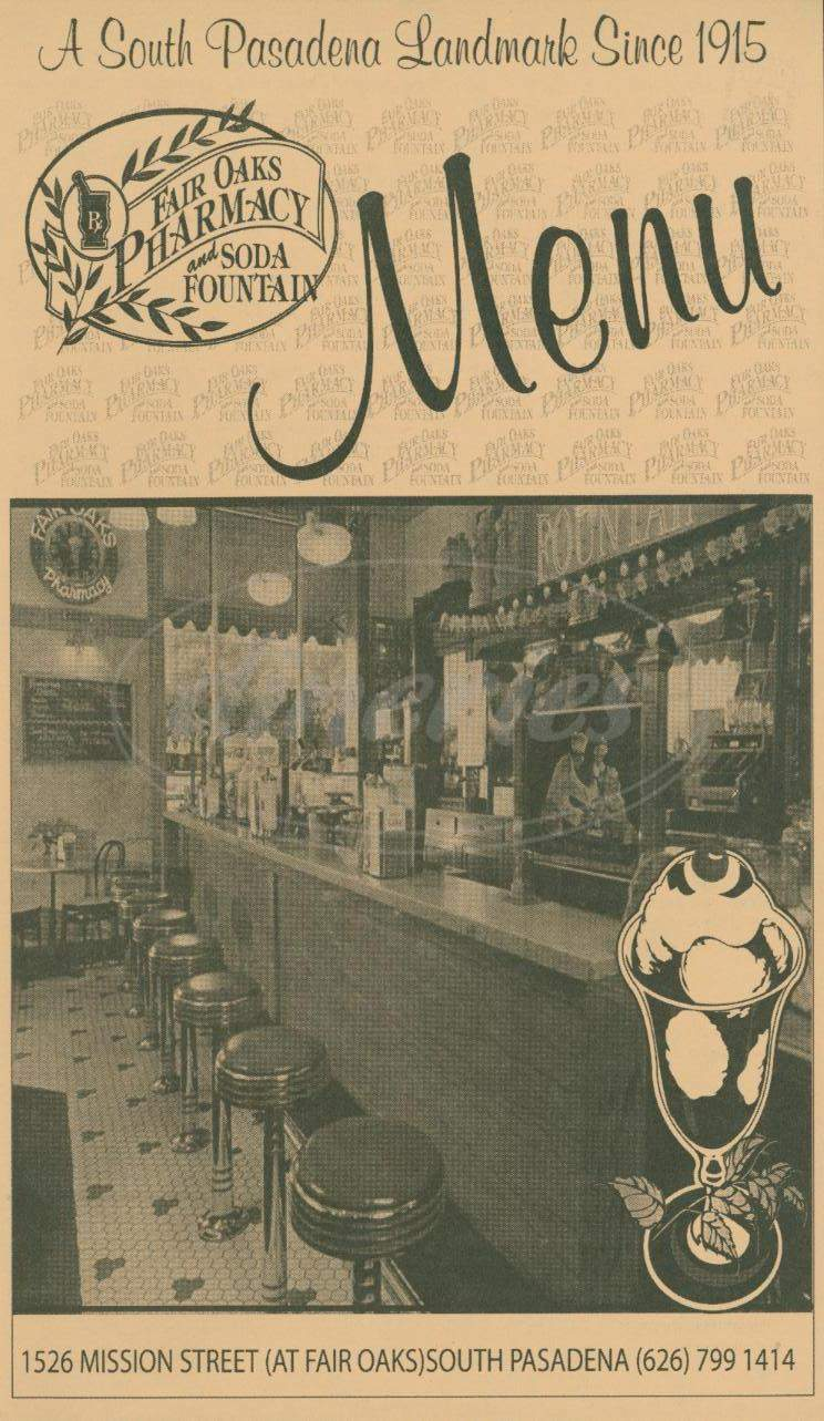 menu for Fair Oaks Pharmacy & Soda Fountain