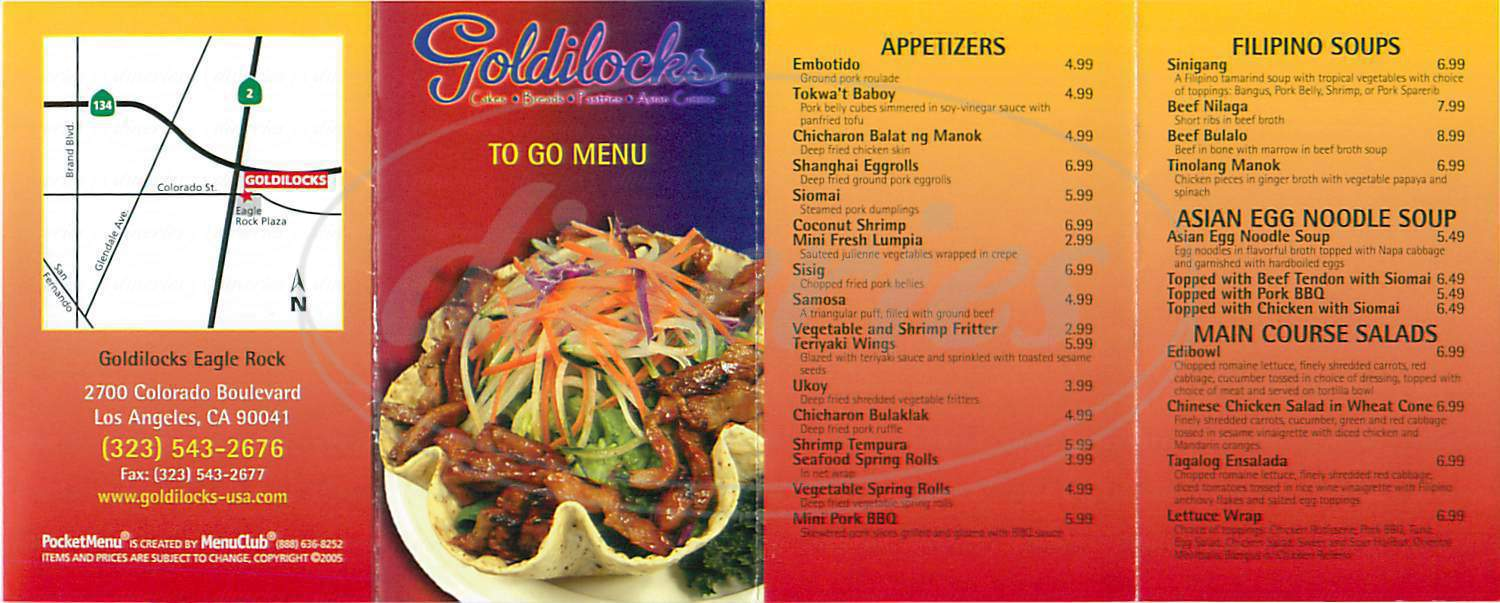 menu for Goldilocks