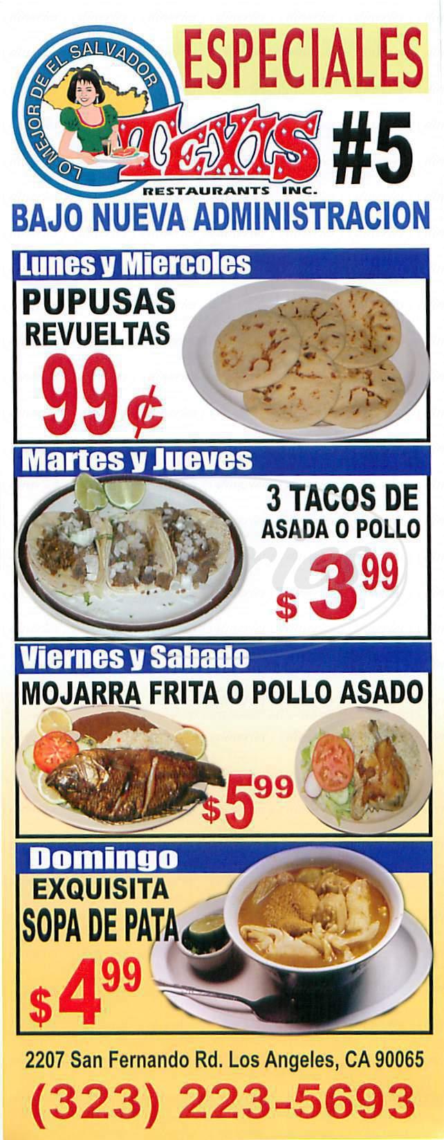 menu for Lo Mejor De El Salvador