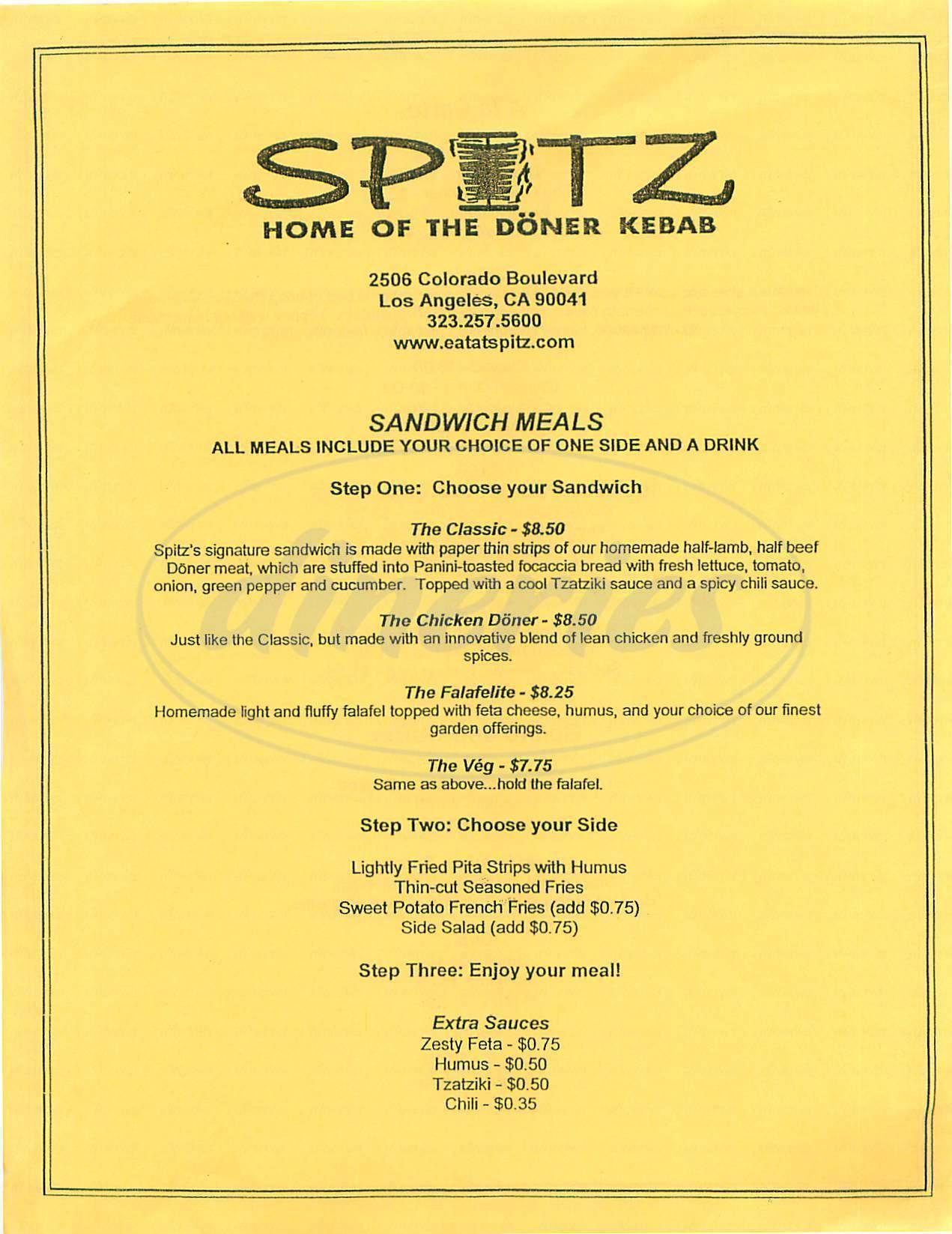 menu for Spitz