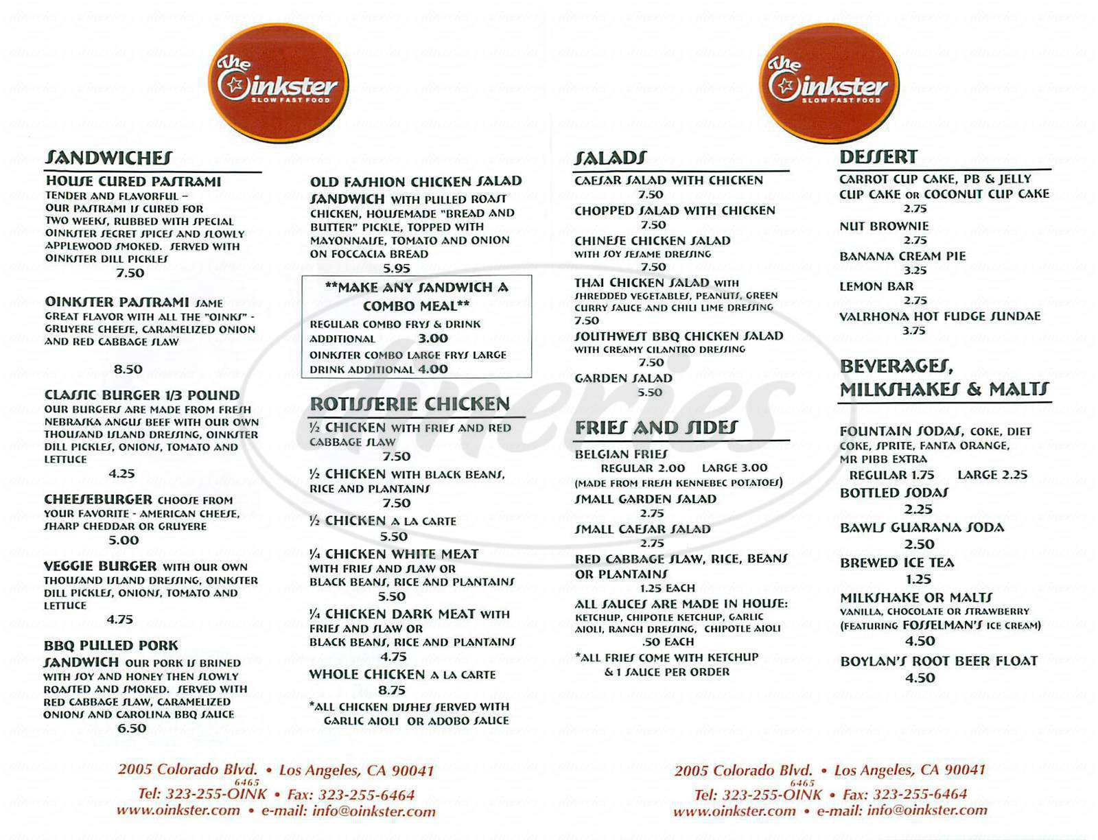 menu for The Oinkster