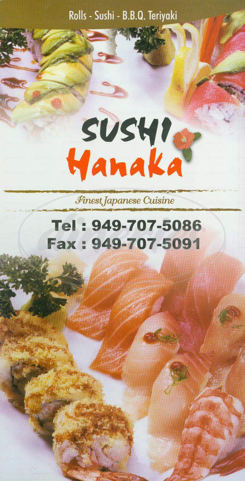 menu for Sushi Hanaka