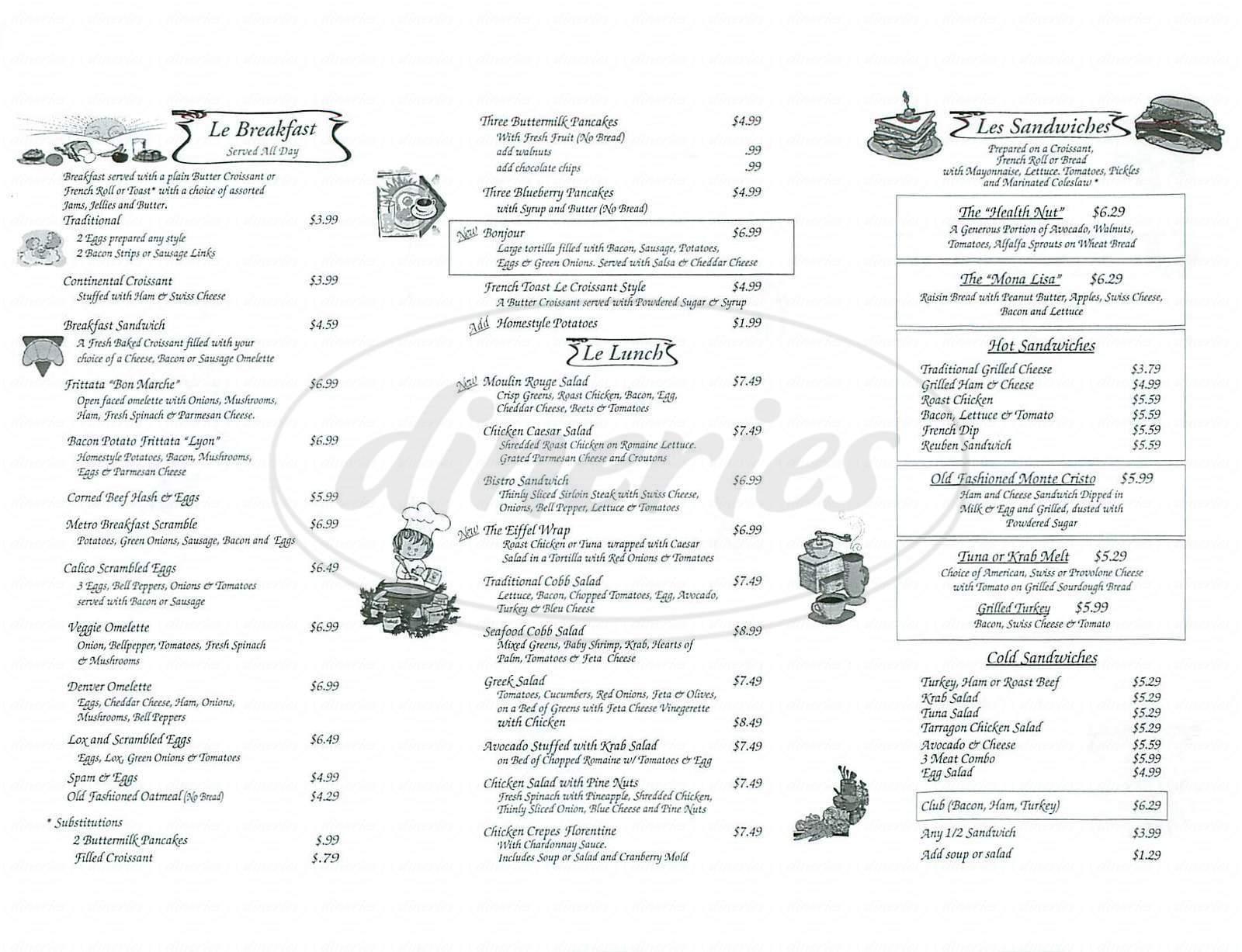 menu for Jolanda's
