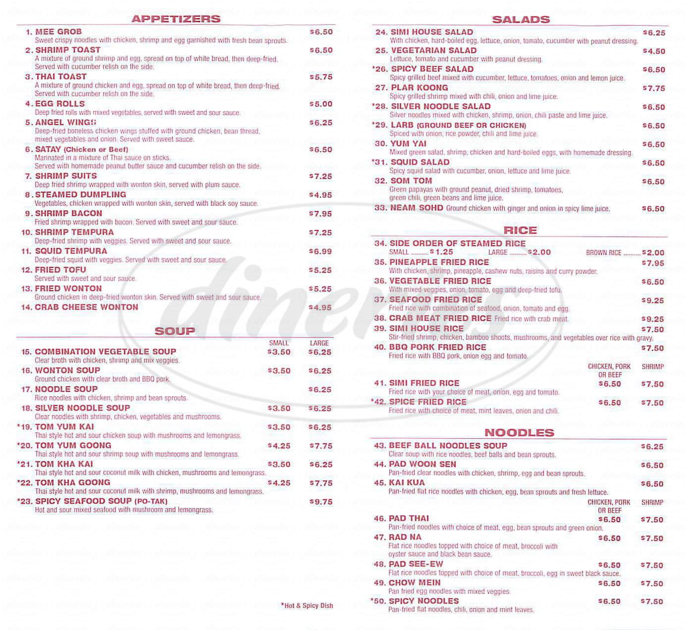 menu for Simi Thai
