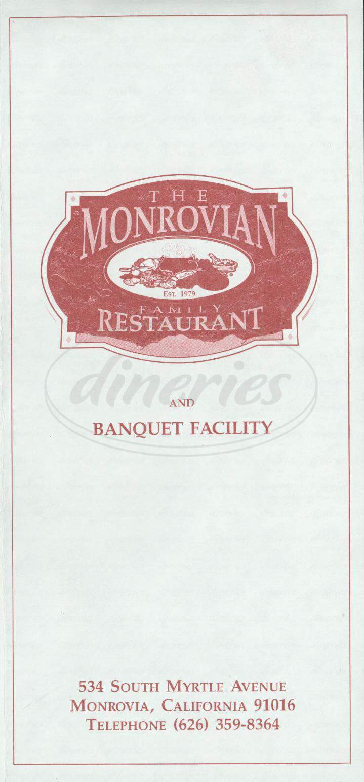 menu for The Monrovian