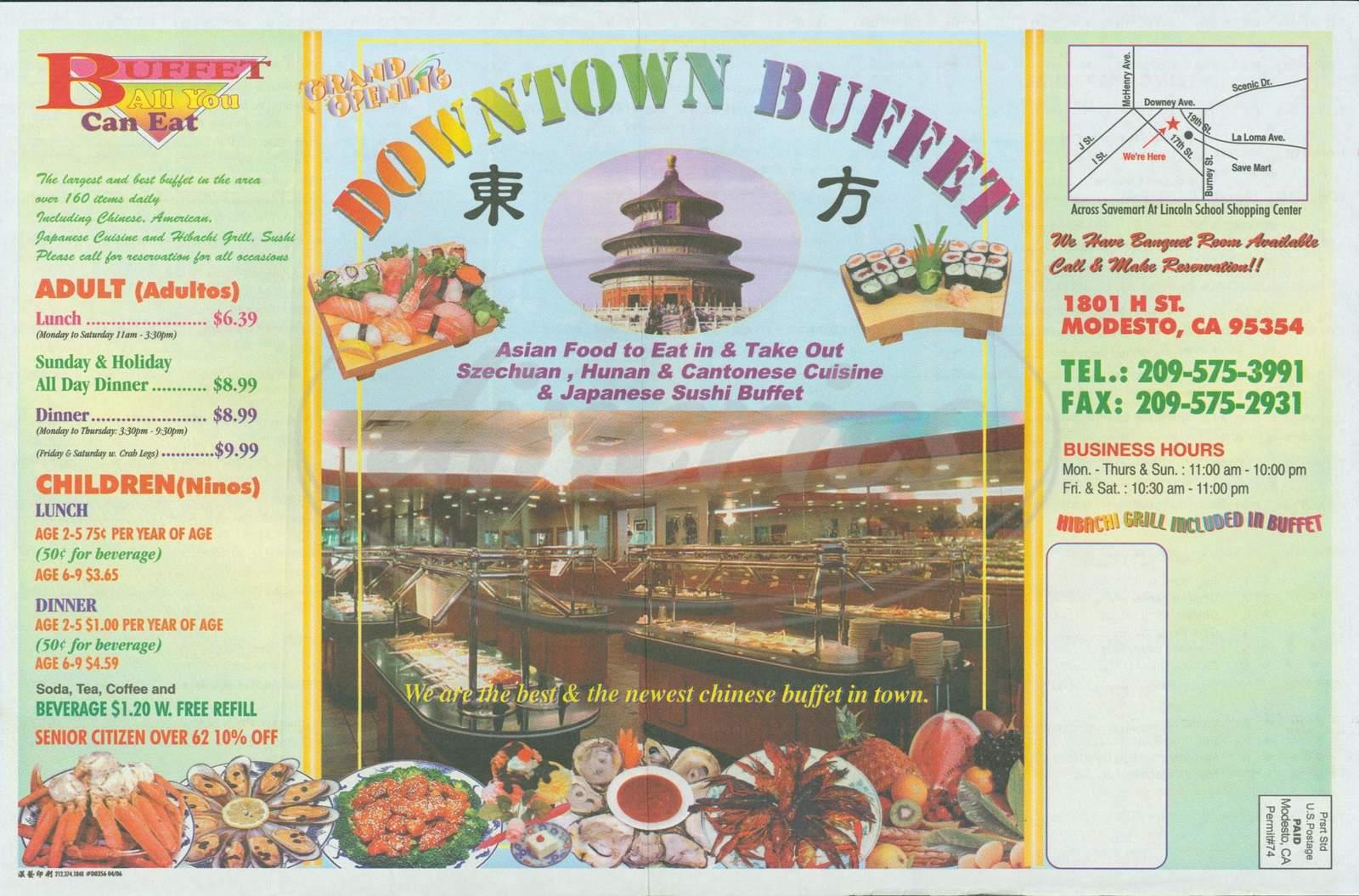 menu for Downtown Buffet