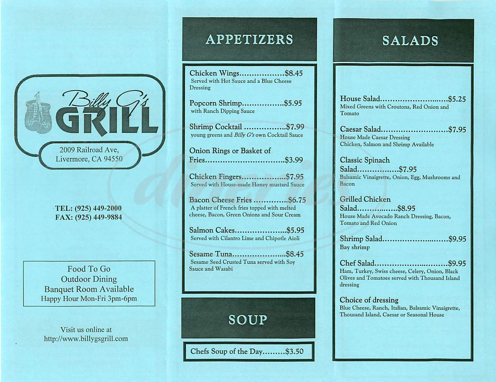 menu for Billy G's Grill
