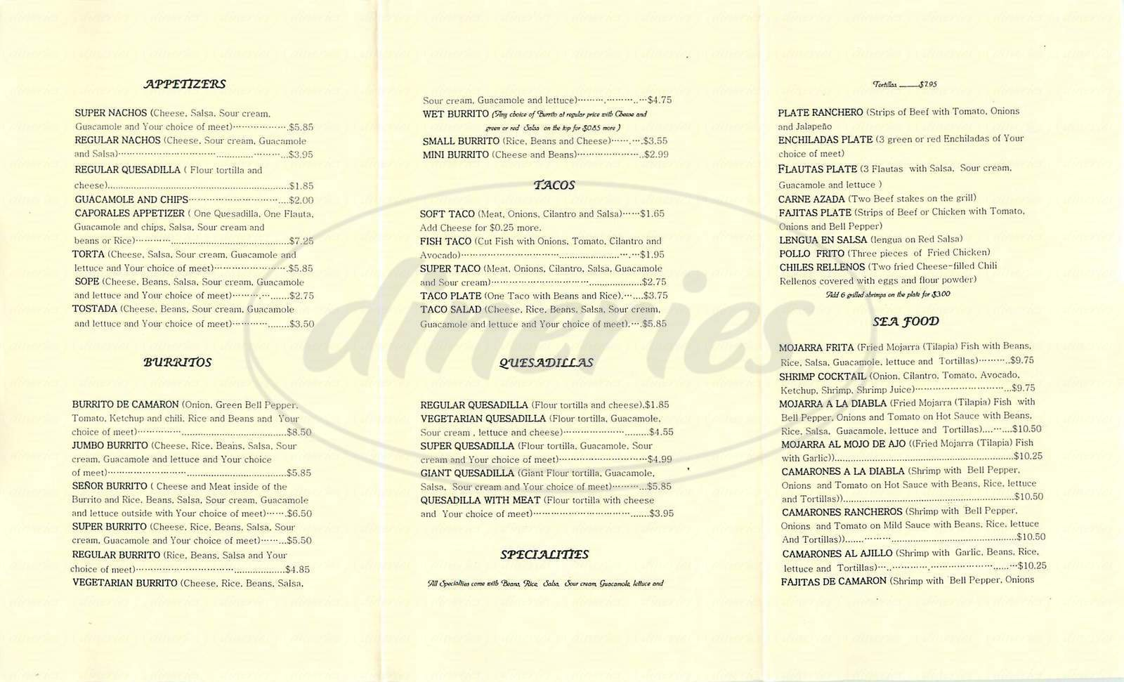 menu for Taqueria El Tapatio