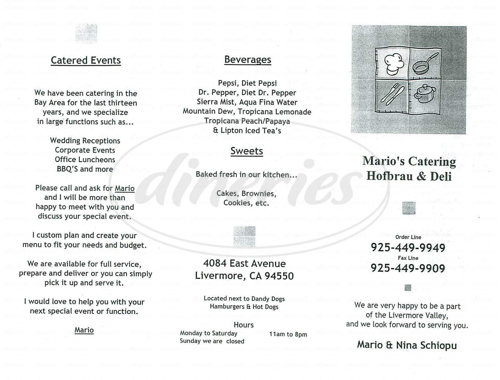 menu for Mario's Hofbrau & Deli