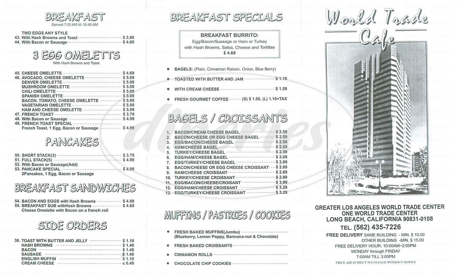 menu for World Trade Cafe
