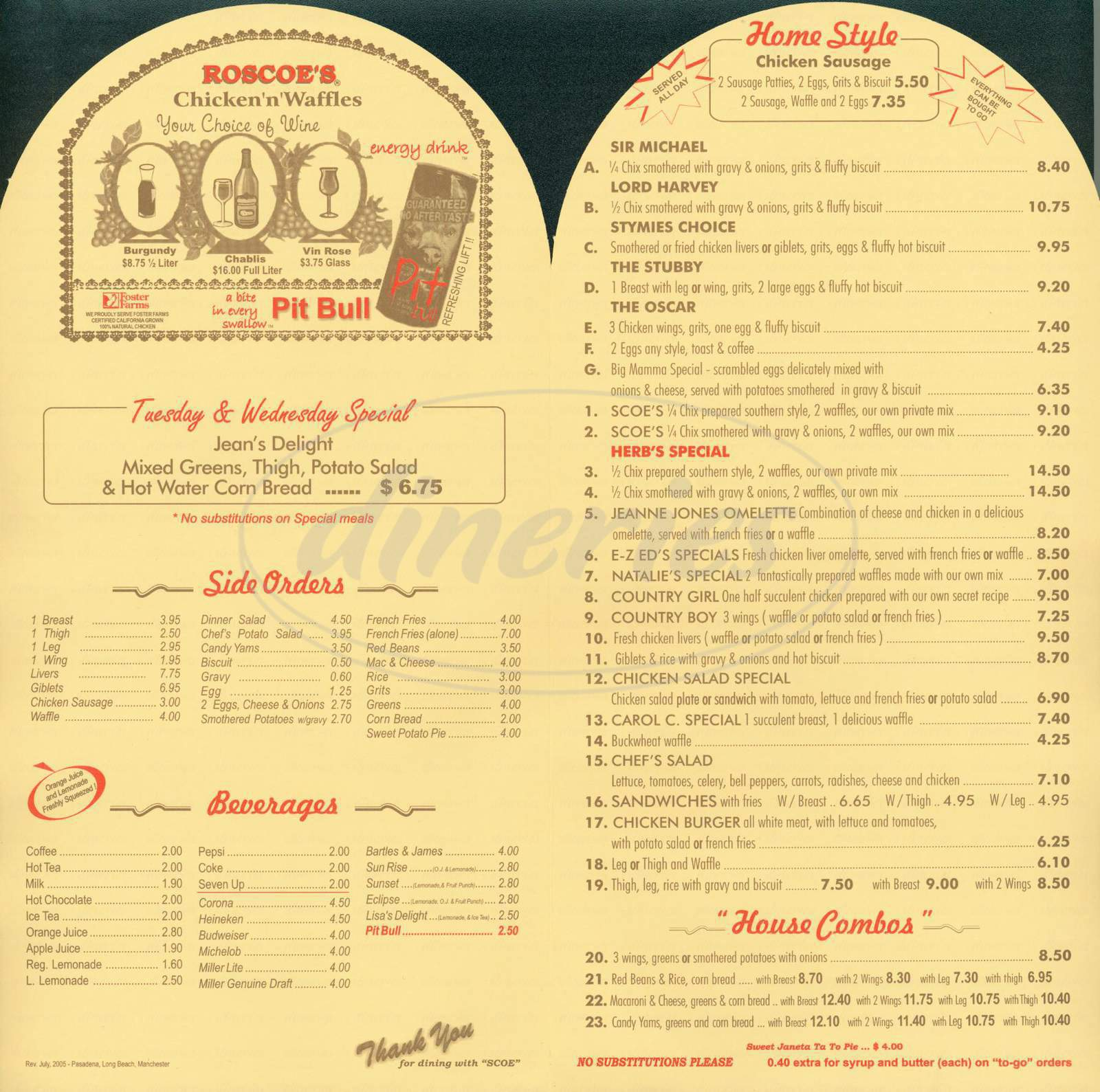 menu for Roscoes House of Chicken & Waffles