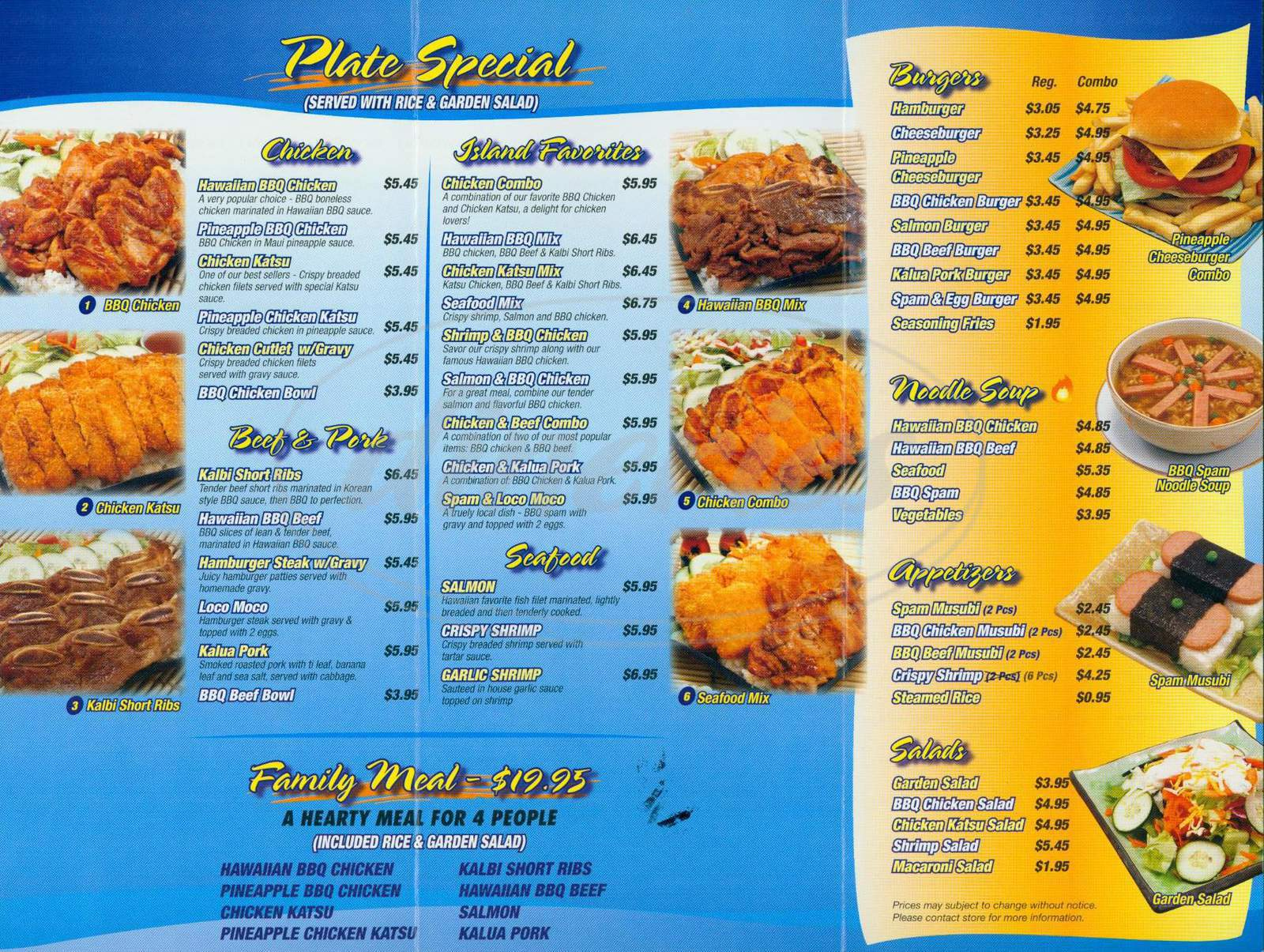 menu for Shakka Hawaiian BBQ