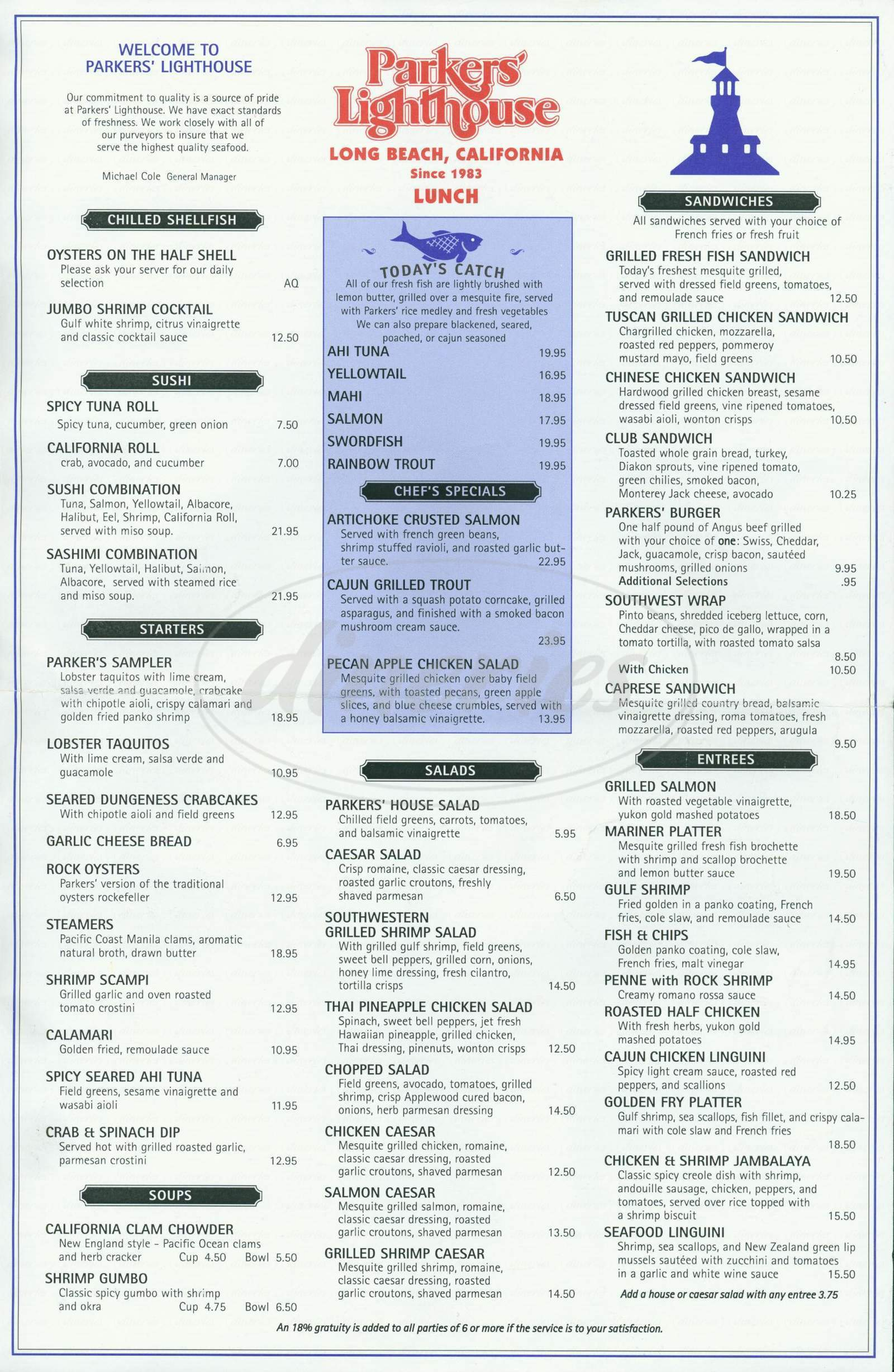 menu for Parkers' Lighthouse