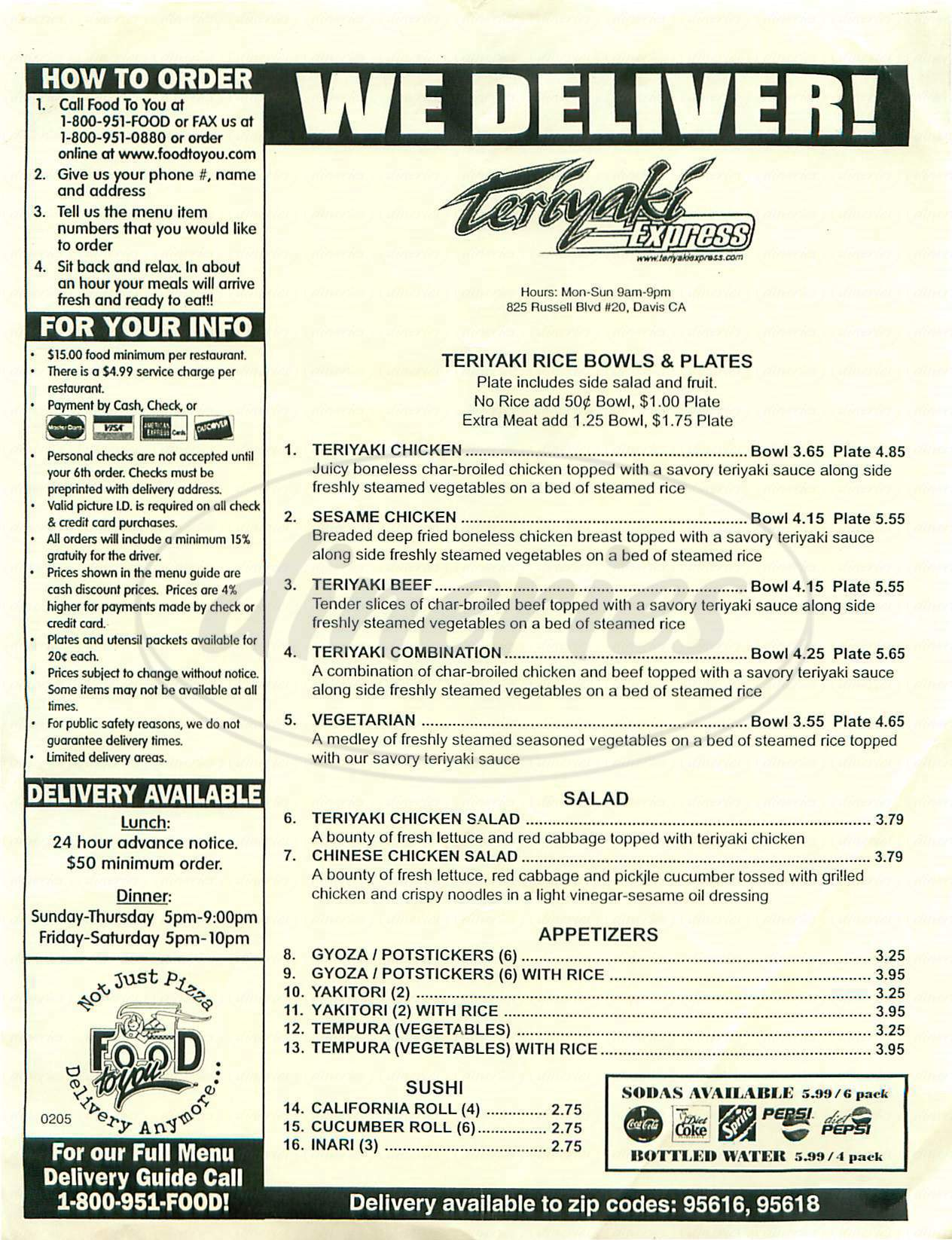menu for Teriyaki Express