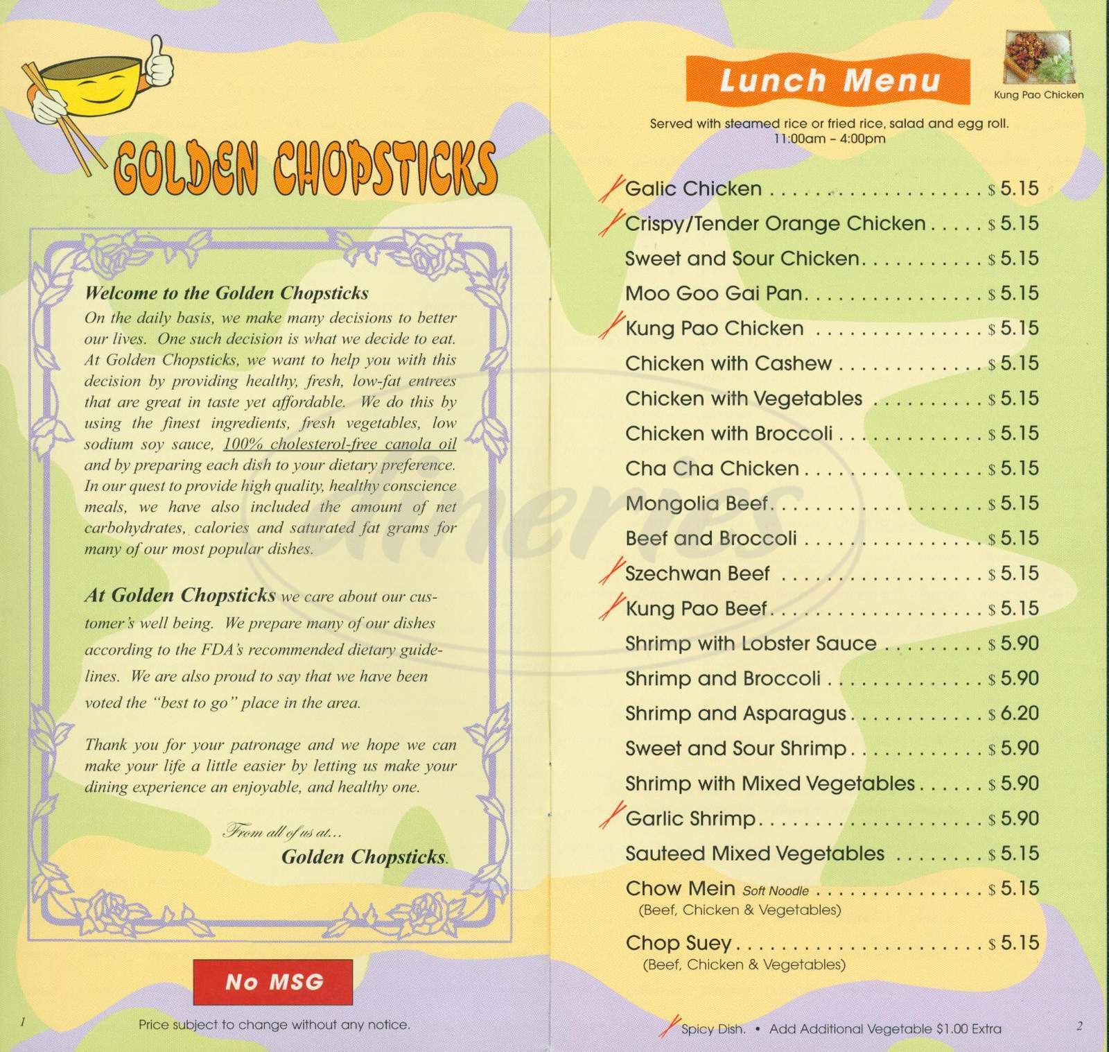 menu for Golden Chopsticks
