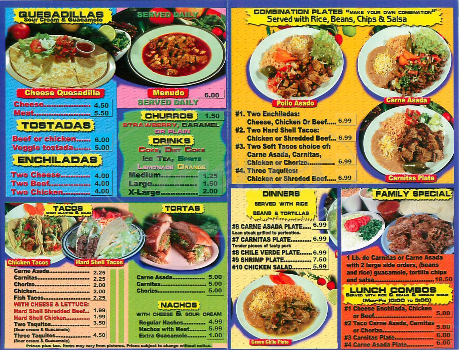 menu for Taco Grill
