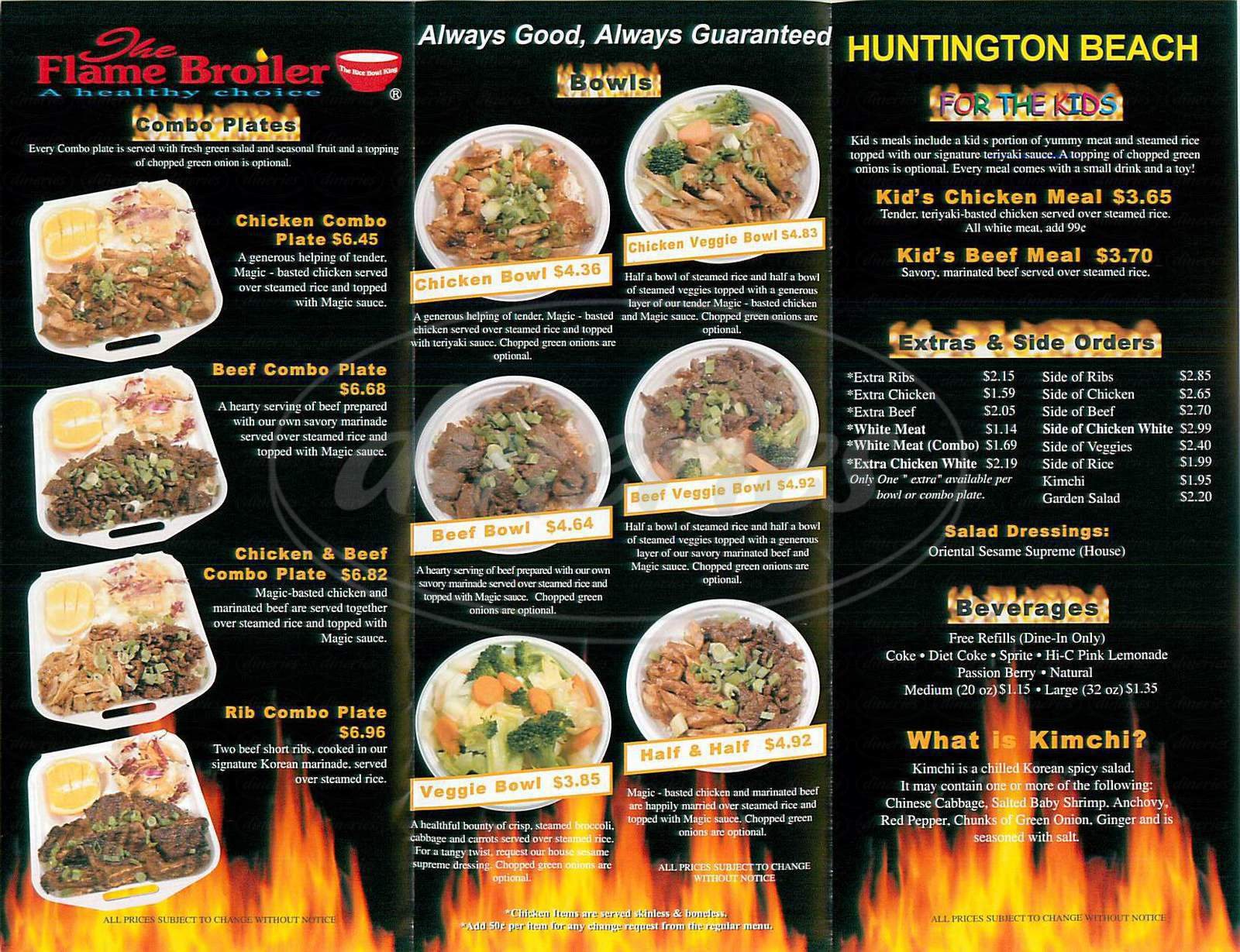 menu for The Flame Broiler