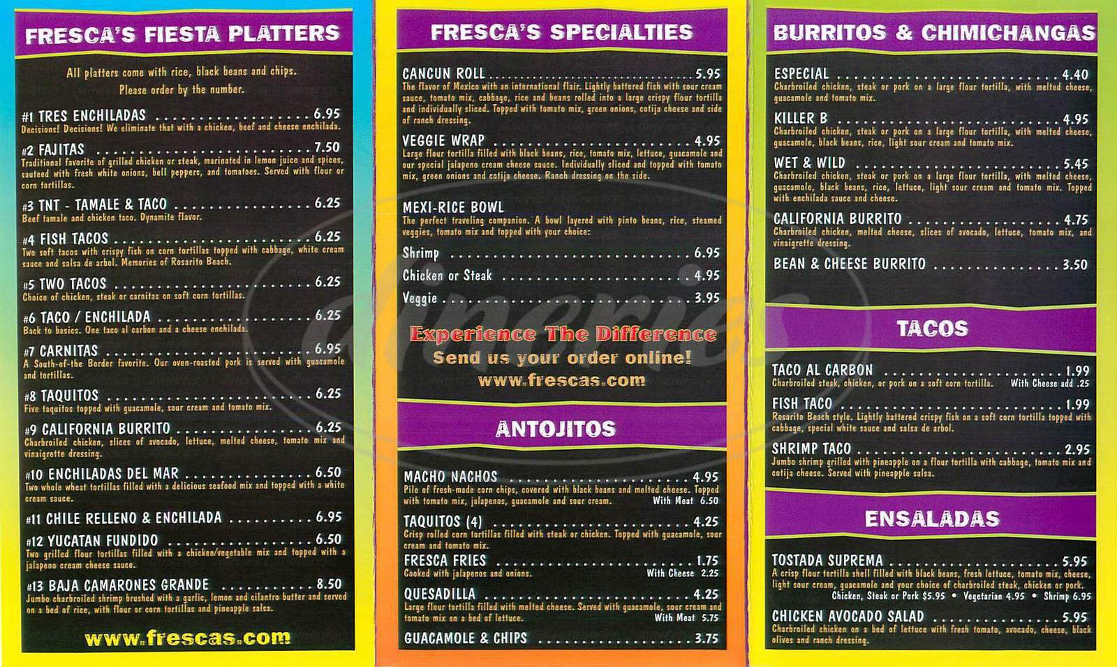 menu for Frescas Mexican Grill