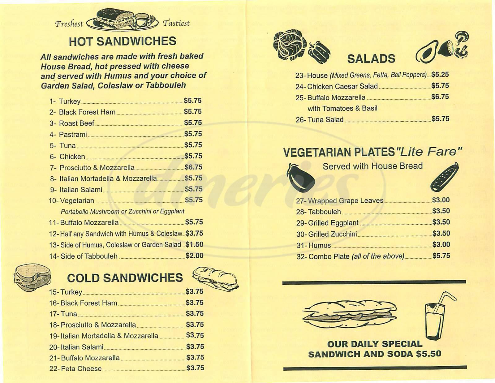 menu for La Belle Cafe