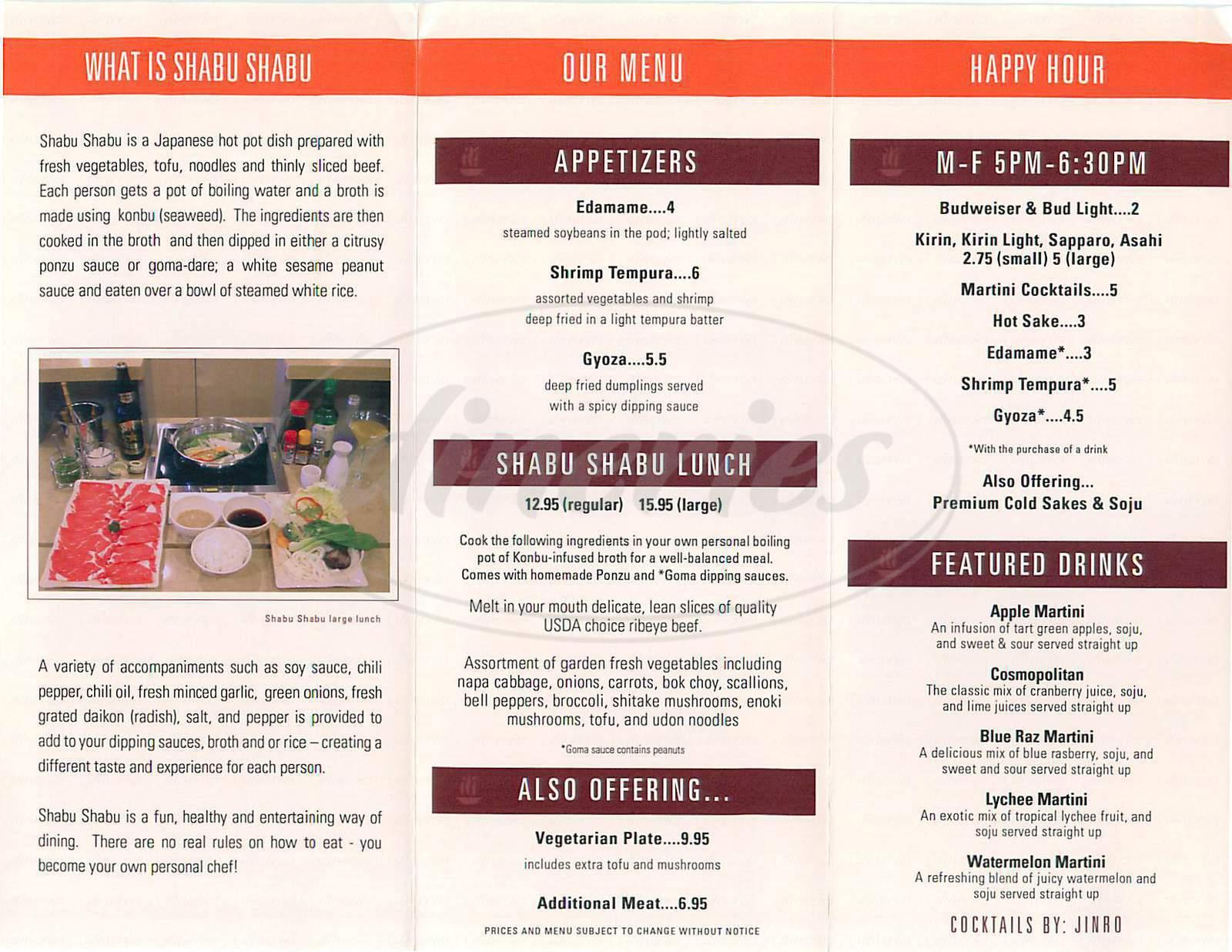 menu for Boiling Point Shabu-Shabu