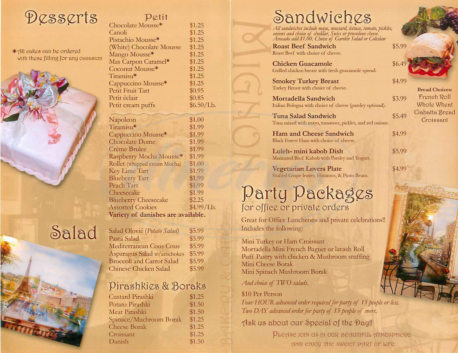 menu for Mignon Bakery & Cafe