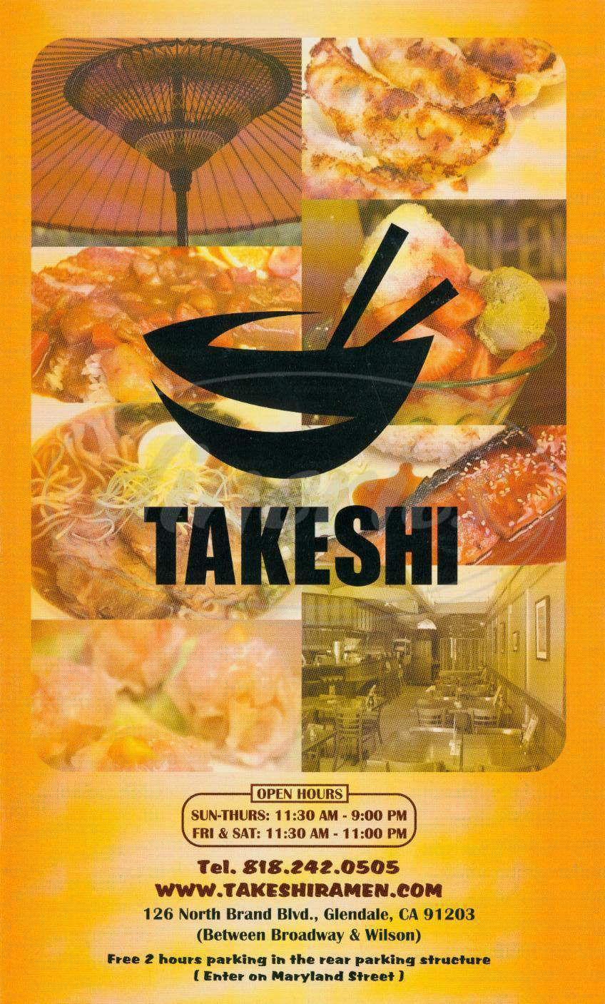 menu for Takeshi